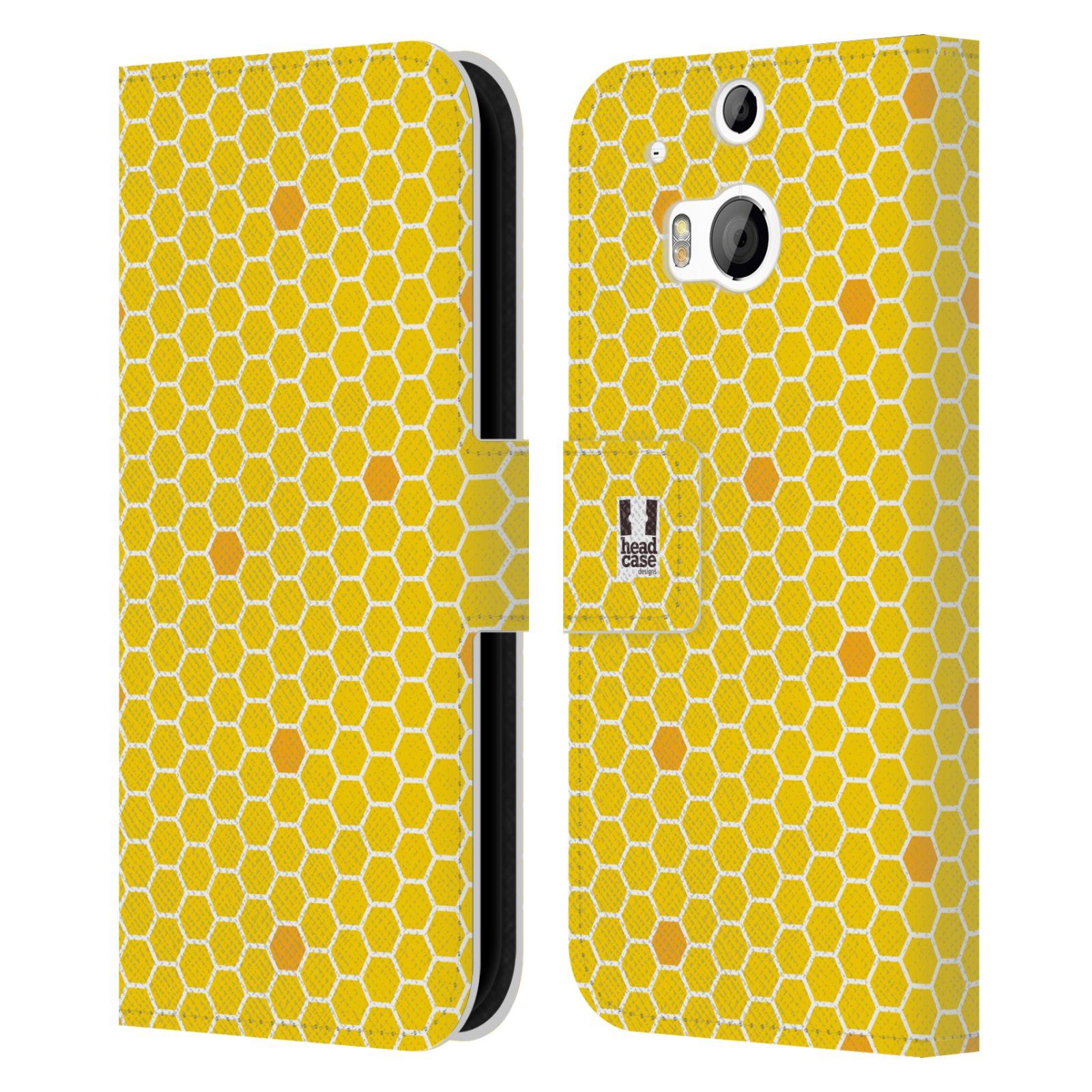 HEAD CASE Flipové pouzdro pro mobil HTC ONE (M8, M8s) VČELÍ VZOR plástev žlutá
