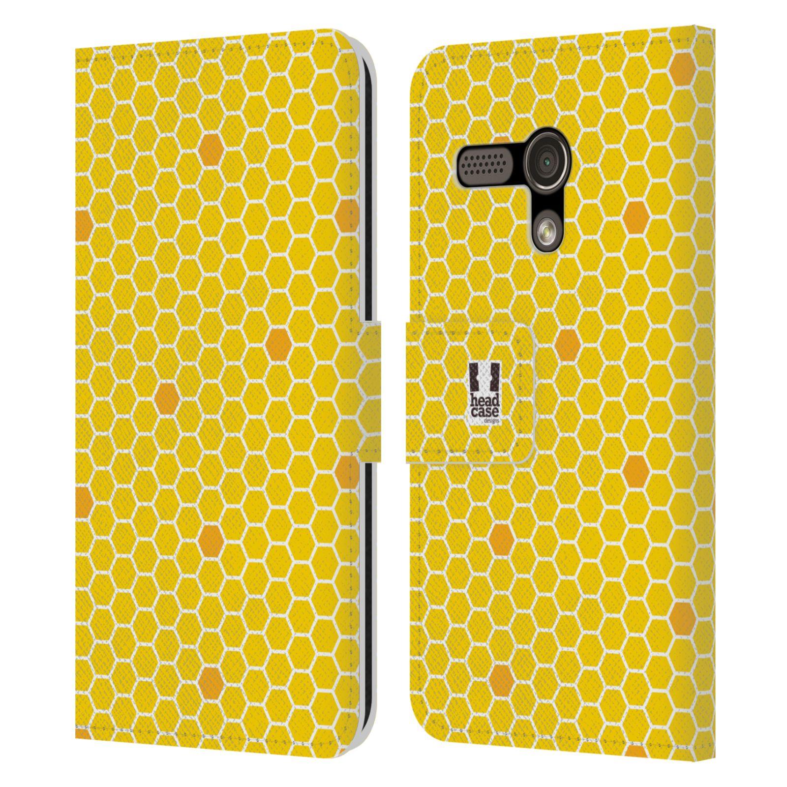 HEAD CASE Flipové pouzdro pro mobil MOTOROLA MOTO G VČELÍ VZOR plástev žlutá