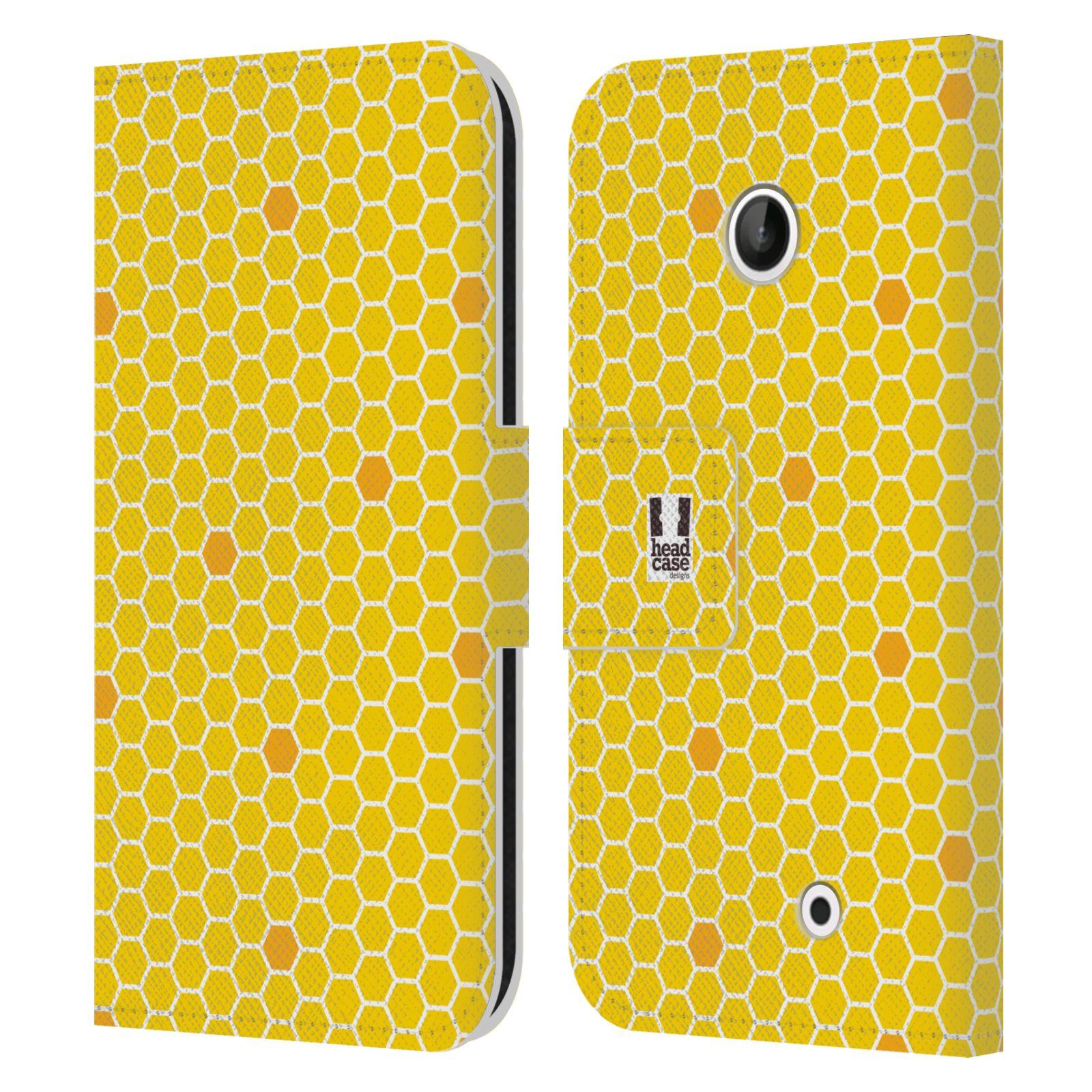 HEAD CASE Flipové pouzdro pro mobil NOKIA LUMIA 630 / LUMIA 630 DUAL VČELÍ VZOR plástev žlutá