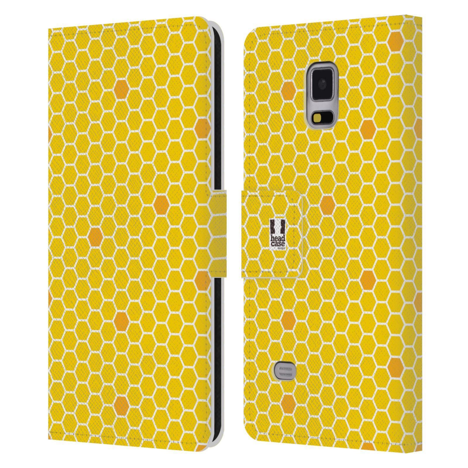 HEAD CASE Flipové pouzdro pro mobil Samsung Galaxy Note 4 VČELÍ VZOR plástev žlutá