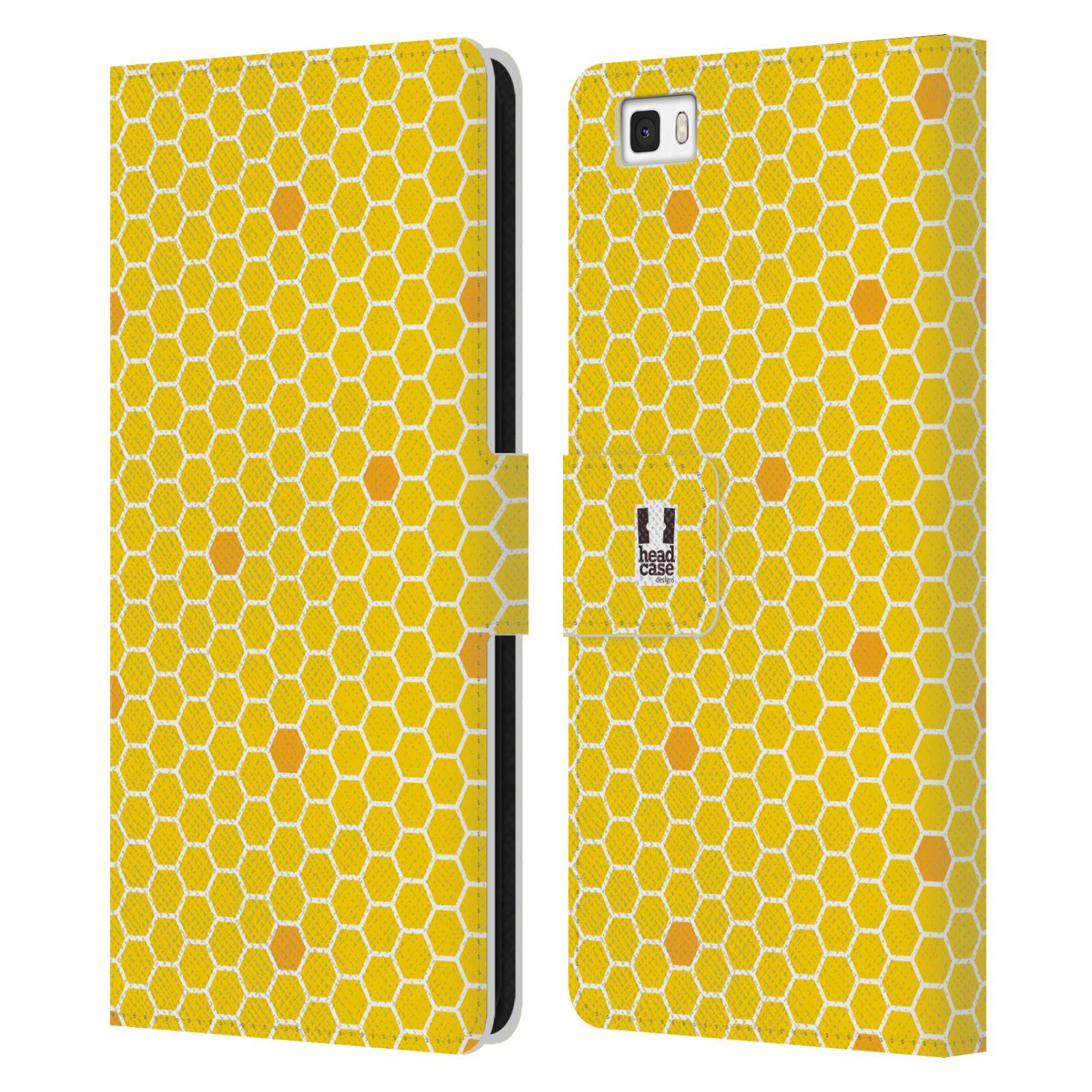HEAD CASE Flipové pouzdro pro mobil Huawei P8 LITE VČELÍ VZOR plástev žlutá