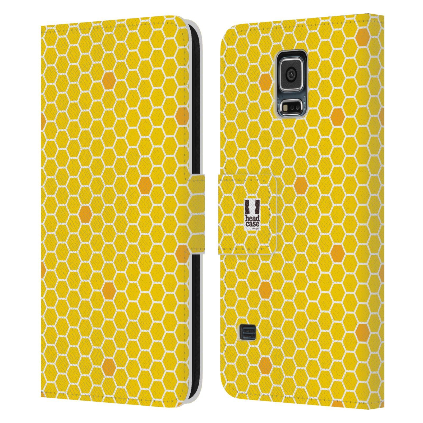 HEAD CASE Flipové pouzdro pro mobil Samsung Galaxy S5 / S5 NEO VČELÍ VZOR plástev žlutá