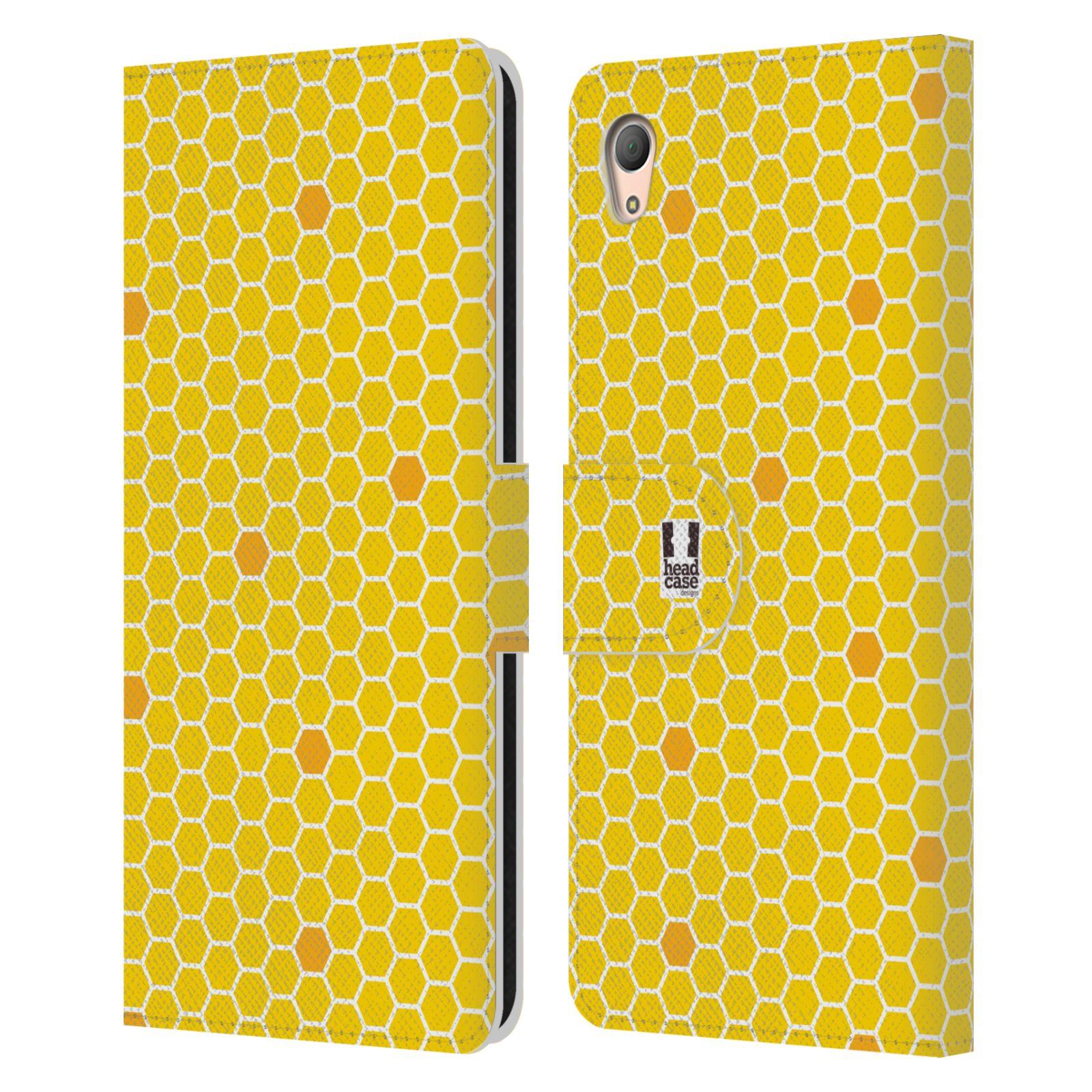 HEAD CASE Flipové pouzdro pro mobil SONY XPERIA Z3+ (PLUS) VČELÍ VZOR plástev žlutá