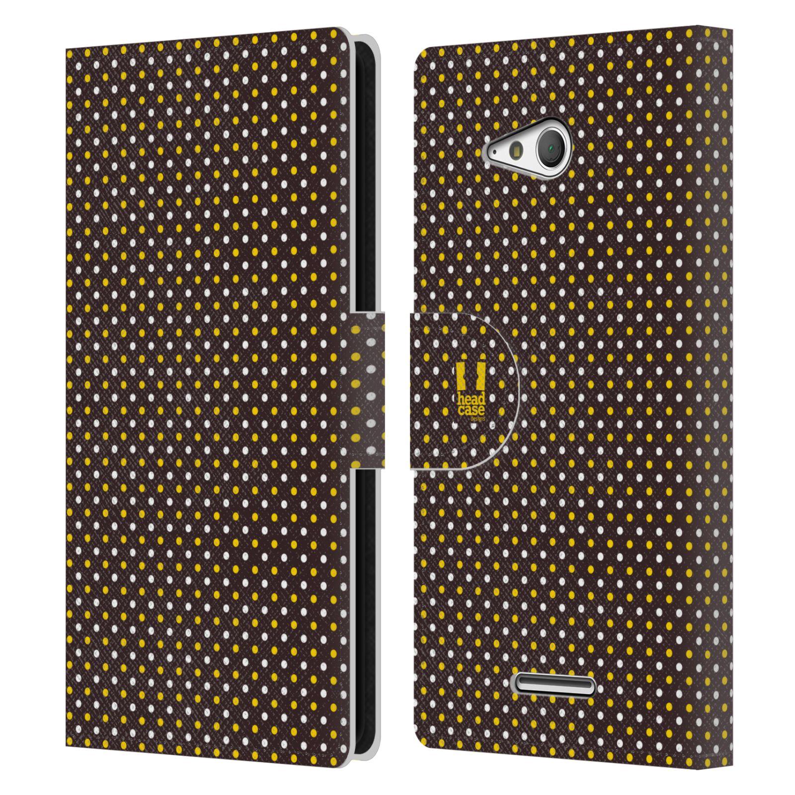 HEAD CASE Flipové pouzdro pro mobil SONY XPERIA E4g VČELÍ VZOR puntíky hnědá a žlutá