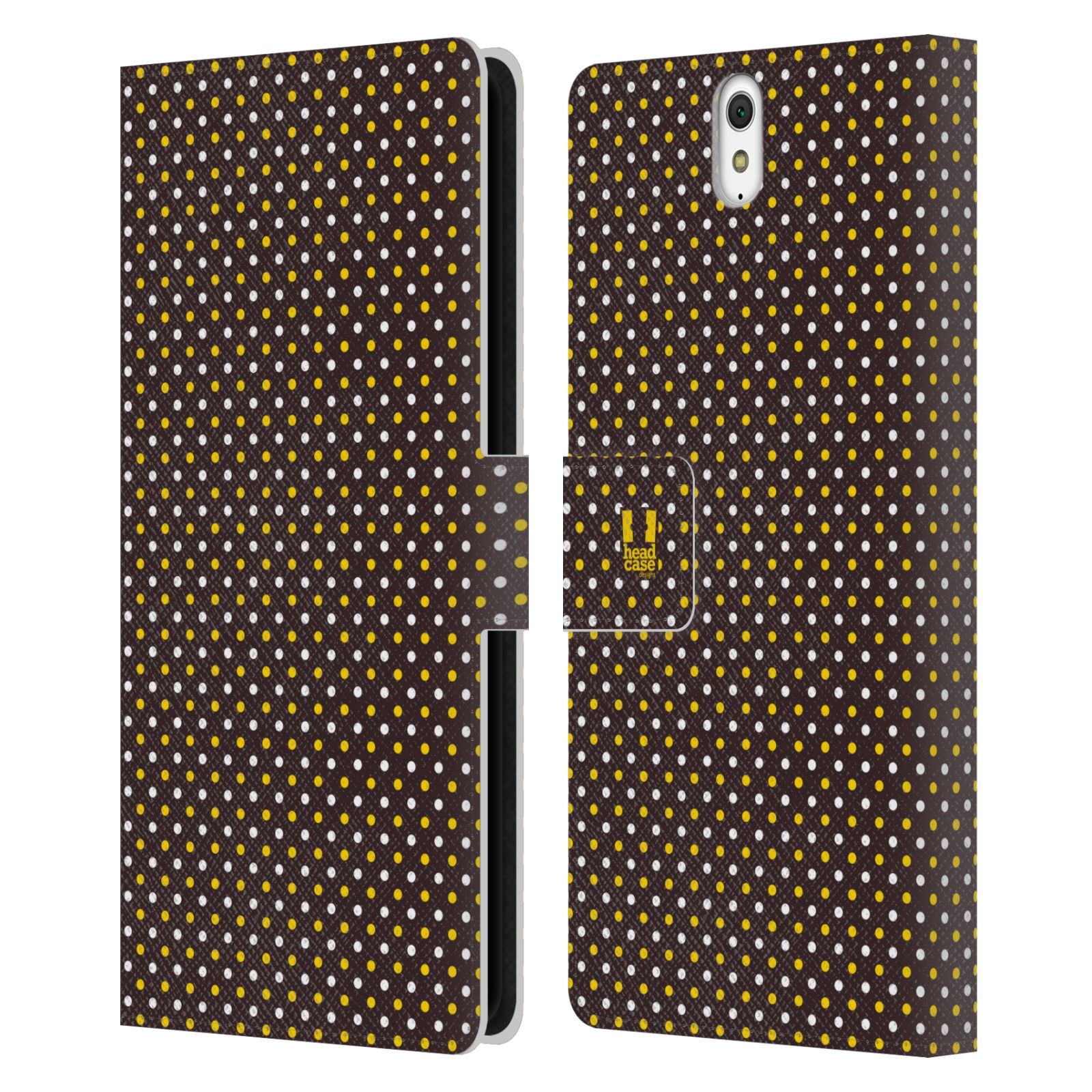 HEAD CASE Flipové pouzdro pro mobil SONY XPERIA C5 Ultra VČELÍ VZOR puntíky hnědá a žlutá