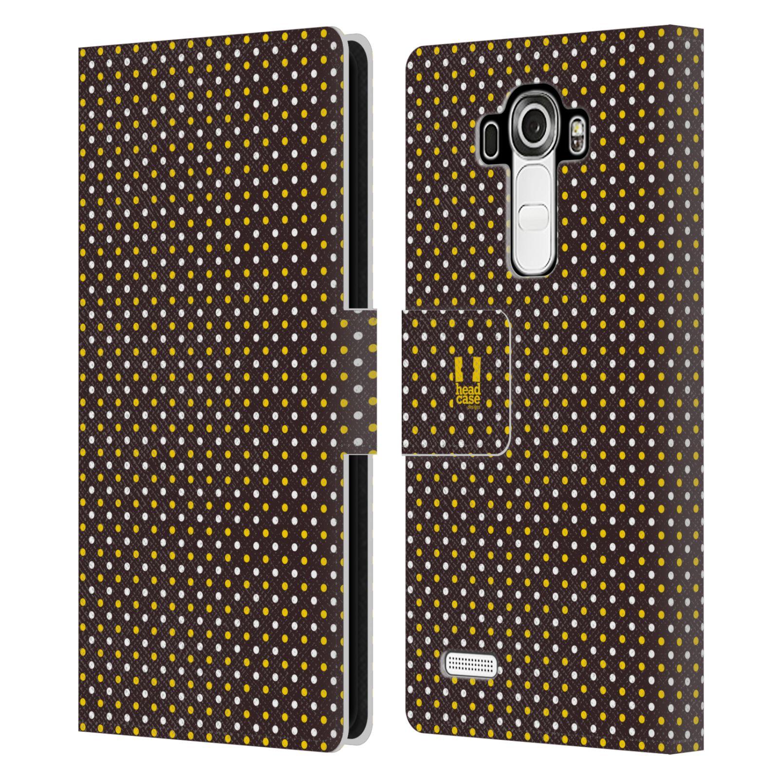 HEAD CASE Flipové pouzdro pro mobil LG G4 (H815) VČELÍ VZOR puntíky hnědá a žlutá