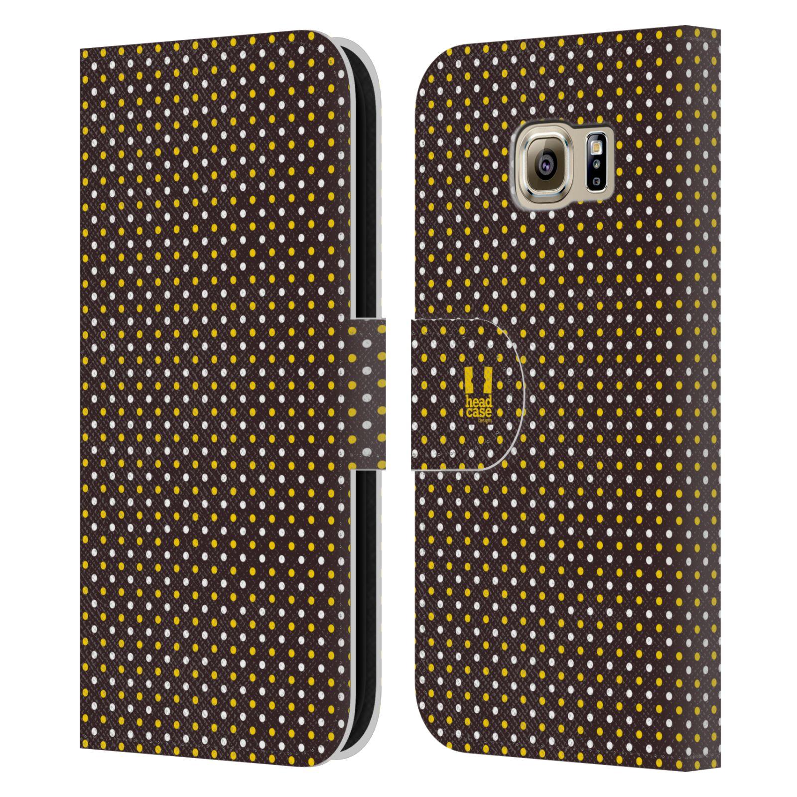 HEAD CASE Flipové pouzdro pro mobil Samsung Galaxy S6 (G9200) VČELÍ VZOR puntíky hnědá a žlutá