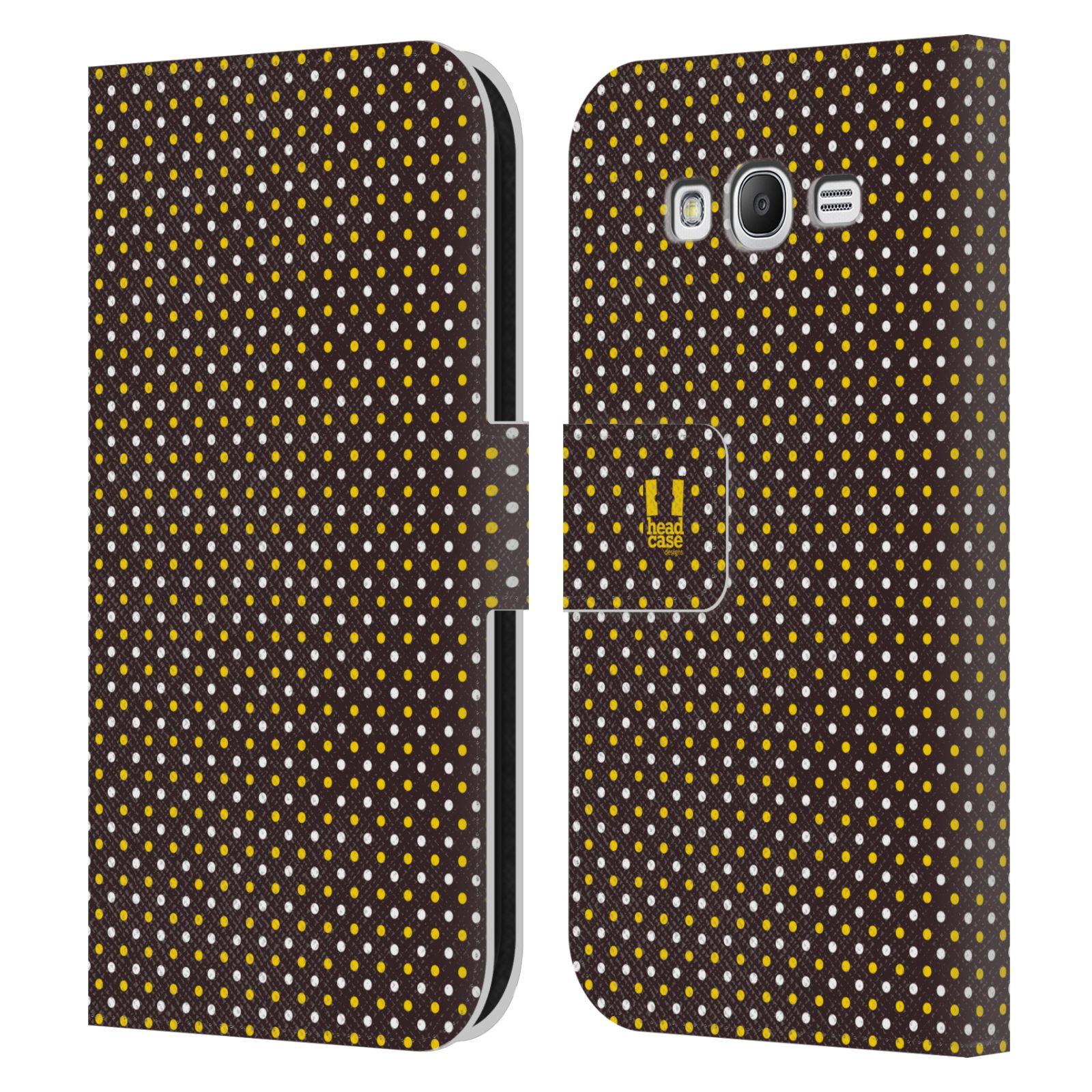 HEAD CASE Flipové pouzdro pro mobil Samsung Galaxy Grand i9080 VČELÍ VZOR puntíky hnědá a žlutá