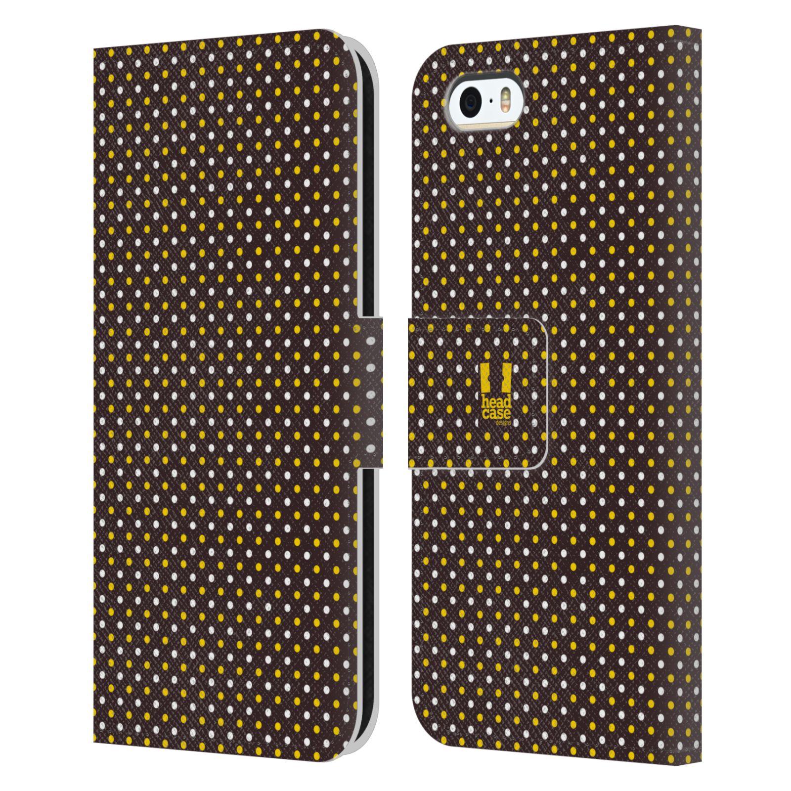 HEAD CASE Flipové pouzdro pro mobil Apple Iphone 5/5s VČELÍ VZOR puntíky hnědá a žlutá