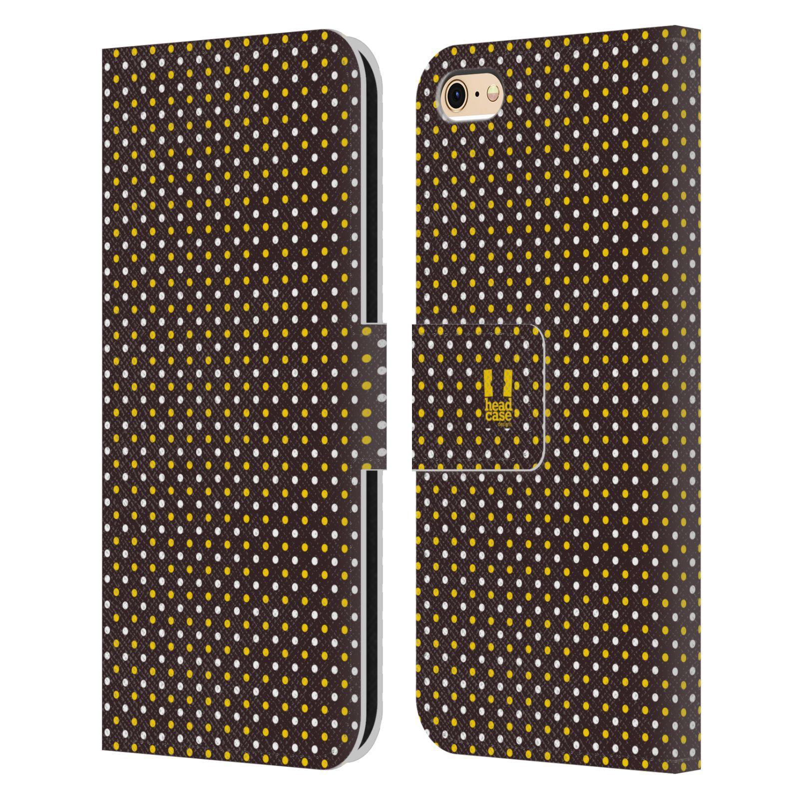 HEAD CASE Flipové pouzdro pro mobil Apple Iphone 6/6s VČELÍ VZOR puntíky hnědá a žlutá