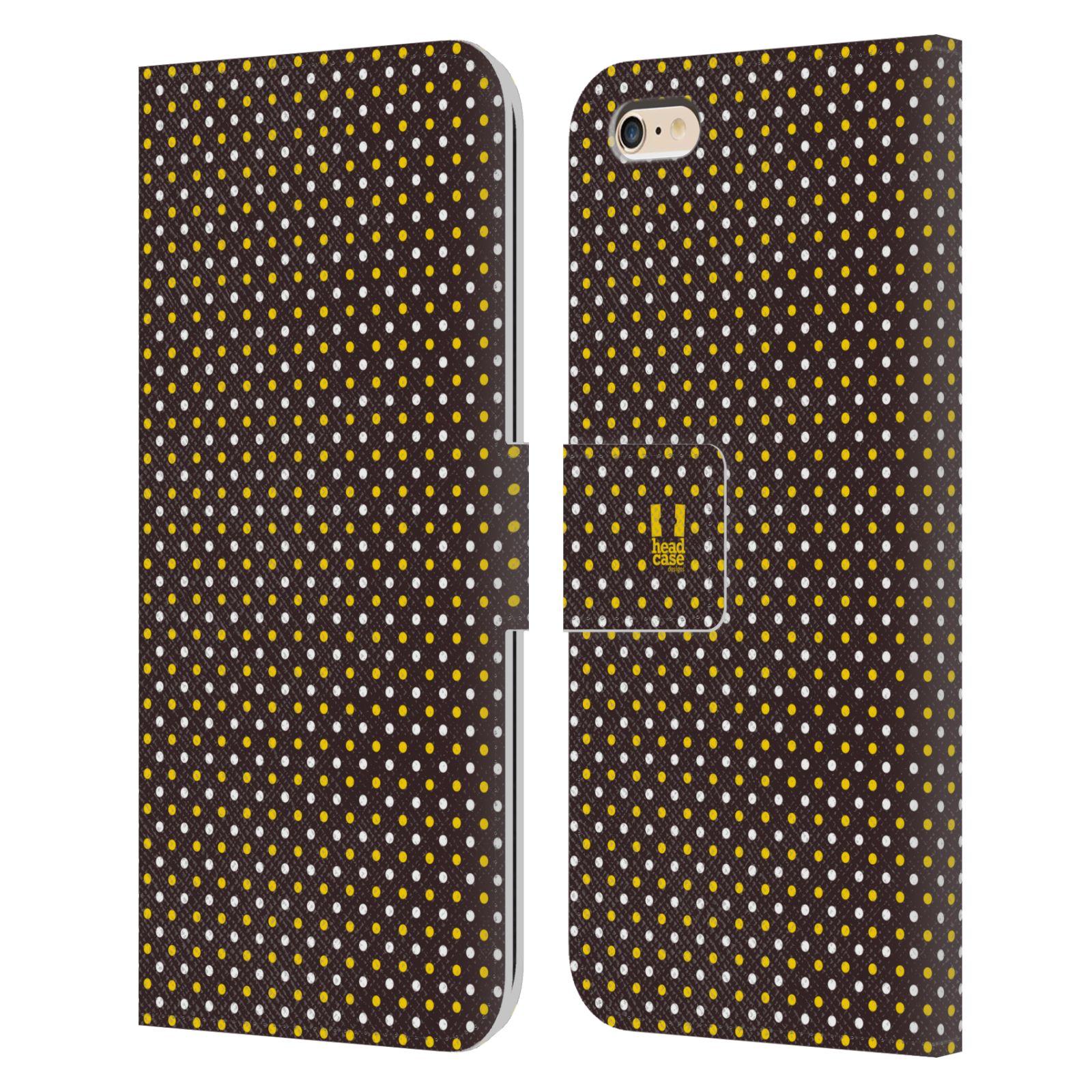 HEAD CASE Flipové pouzdro pro mobil Apple Iphone 6 PLUS / 6S PLUS VČELÍ VZOR puntíky hnědá a žlutá