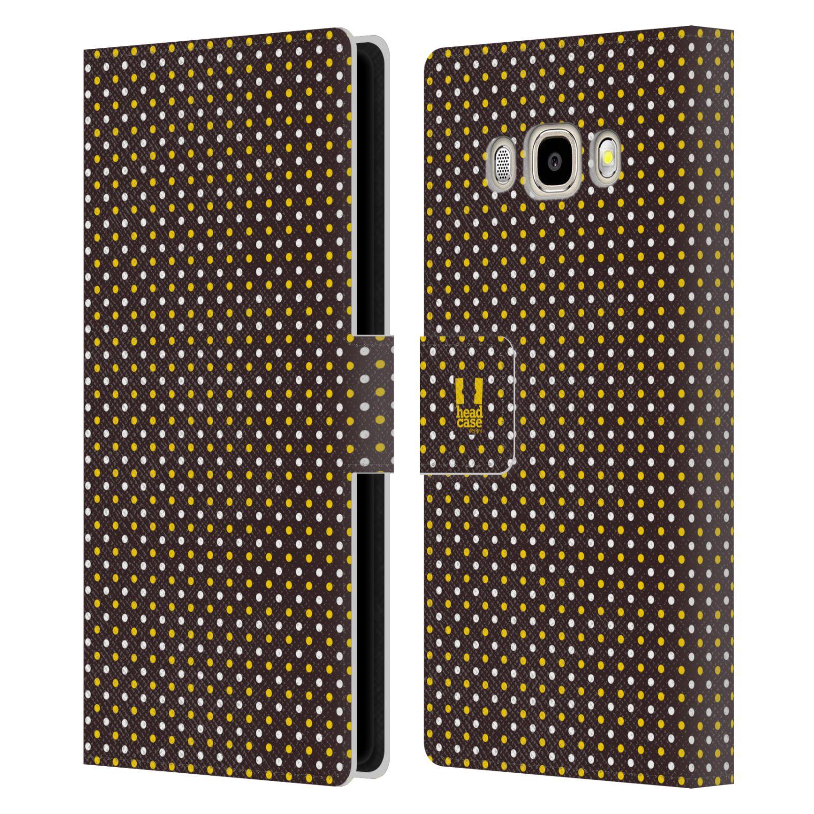 HEAD CASE Flipové pouzdro pro mobil Samsung Galaxy J5 2016 VČELÍ VZOR puntíky hnědá a žlutá