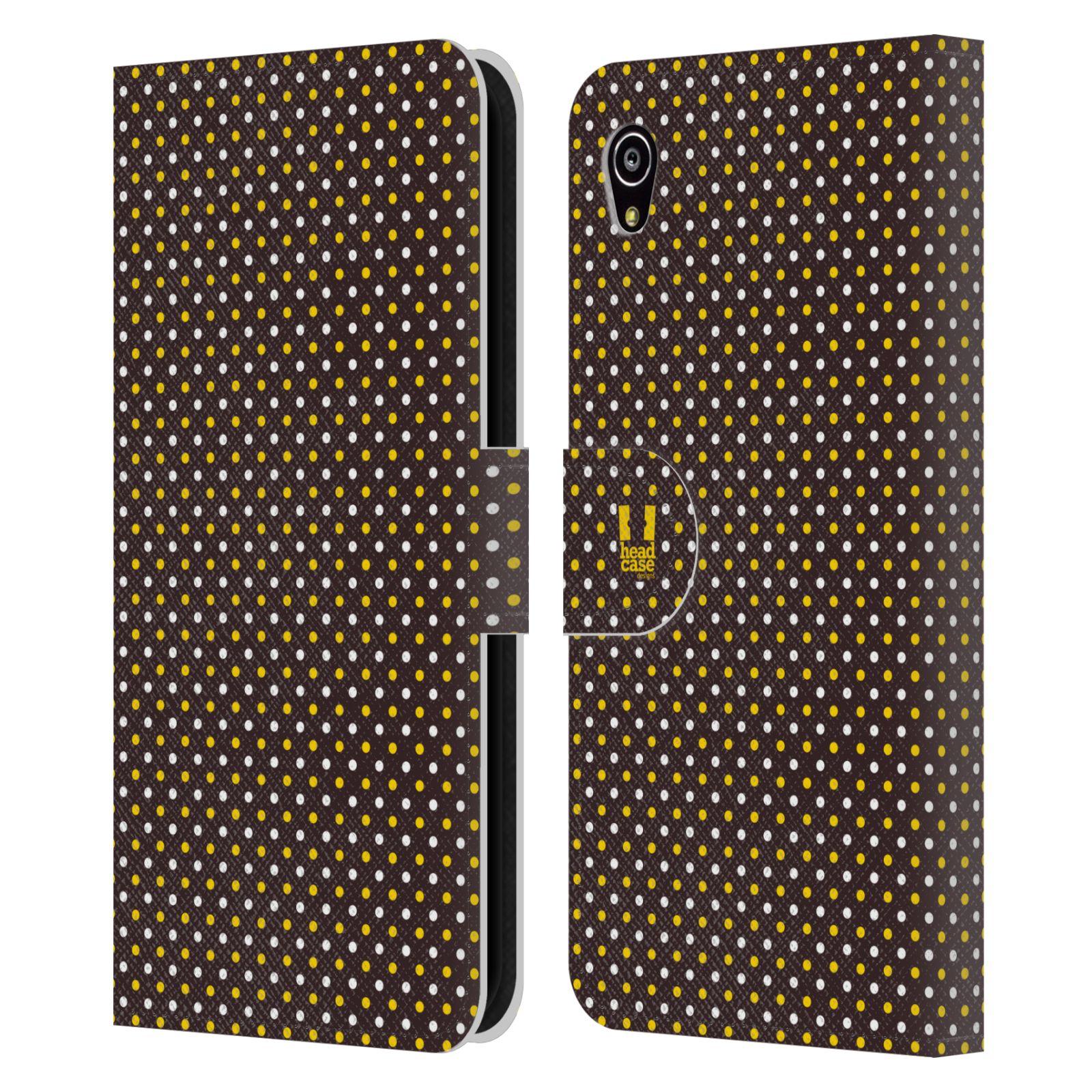 HEAD CASE Flipové pouzdro pro mobil SONY XPERIA M4 AQUA VČELÍ VZOR puntíky hnědá a žlutá