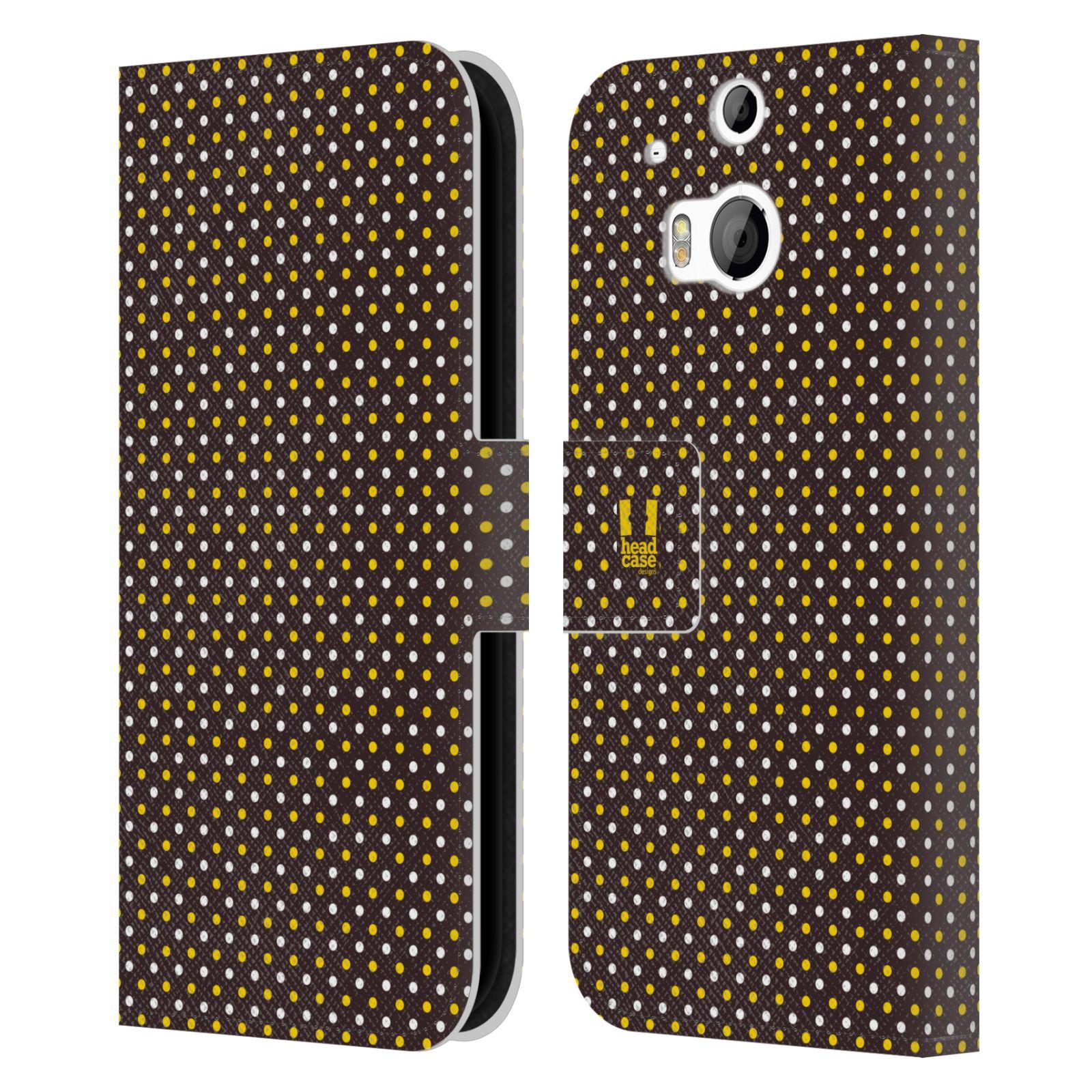 HEAD CASE Flipové pouzdro pro mobil HTC ONE (M8, M8s) VČELÍ VZOR puntíky hnědá a žlutá