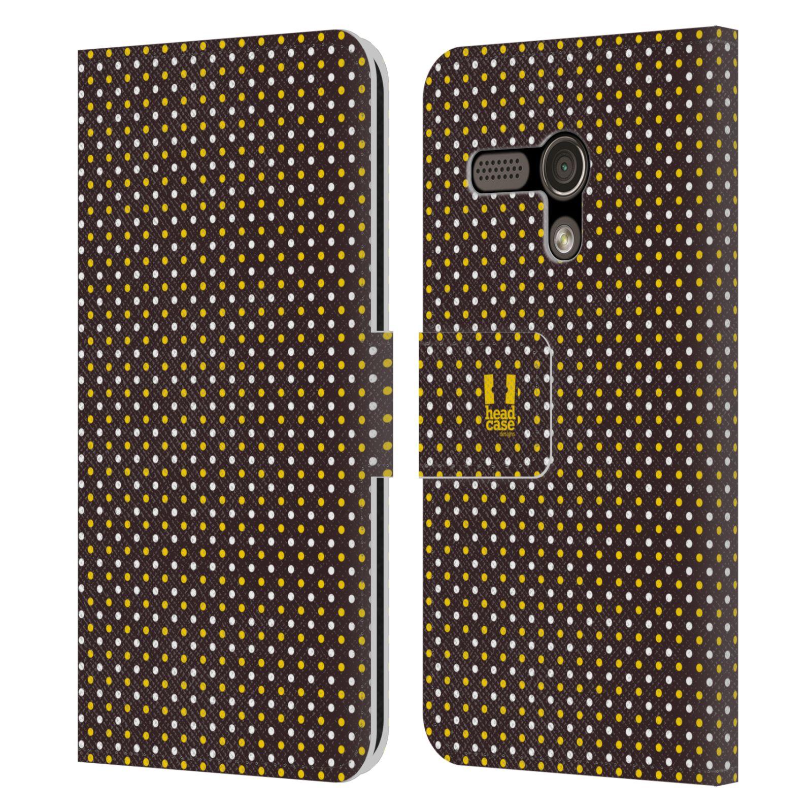 HEAD CASE Flipové pouzdro pro mobil MOTOROLA MOTO G VČELÍ VZOR puntíky hnědá a žlutá