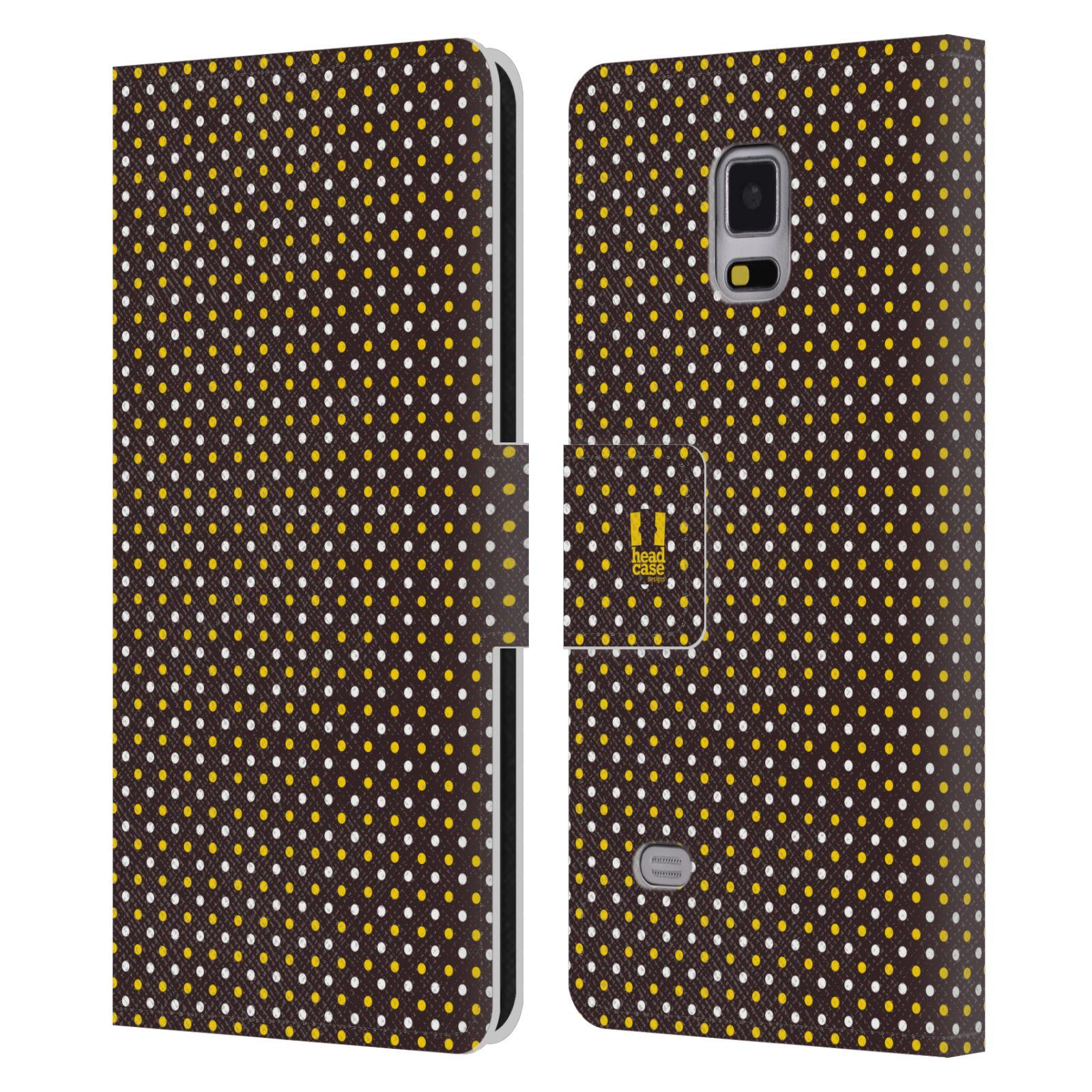 HEAD CASE Flipové pouzdro pro mobil Samsung Galaxy Note 4 VČELÍ VZOR puntíky hnědá a žlutá