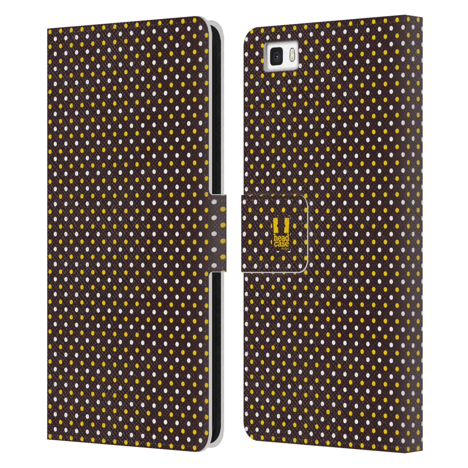 HEAD CASE Flipové pouzdro pro mobil Huawei P8 LITE VČELÍ VZOR puntíky hnědá a žlutá