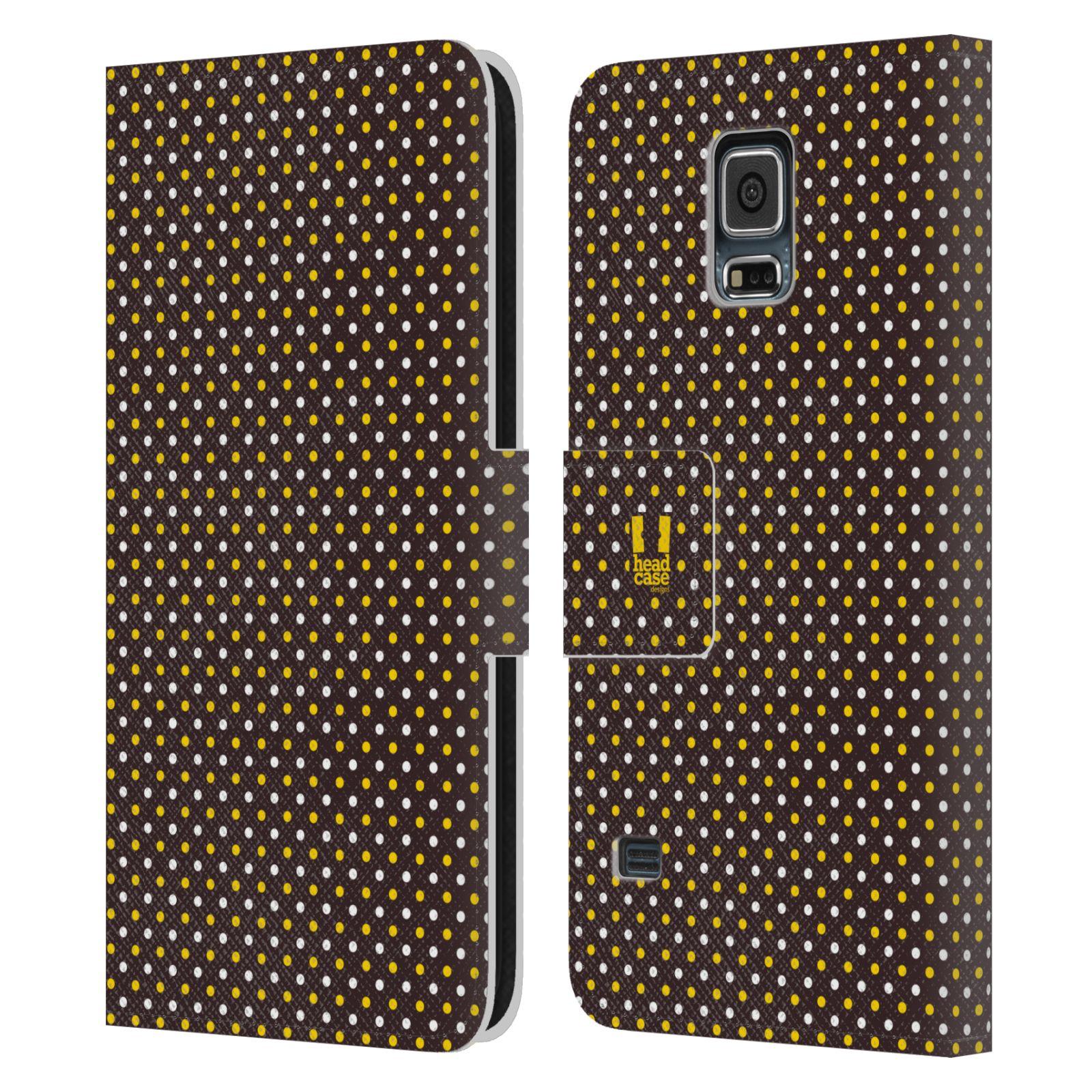HEAD CASE Flipové pouzdro pro mobil Samsung Galaxy S5 / S5 NEO VČELÍ VZOR puntíky hnědá a žlutá