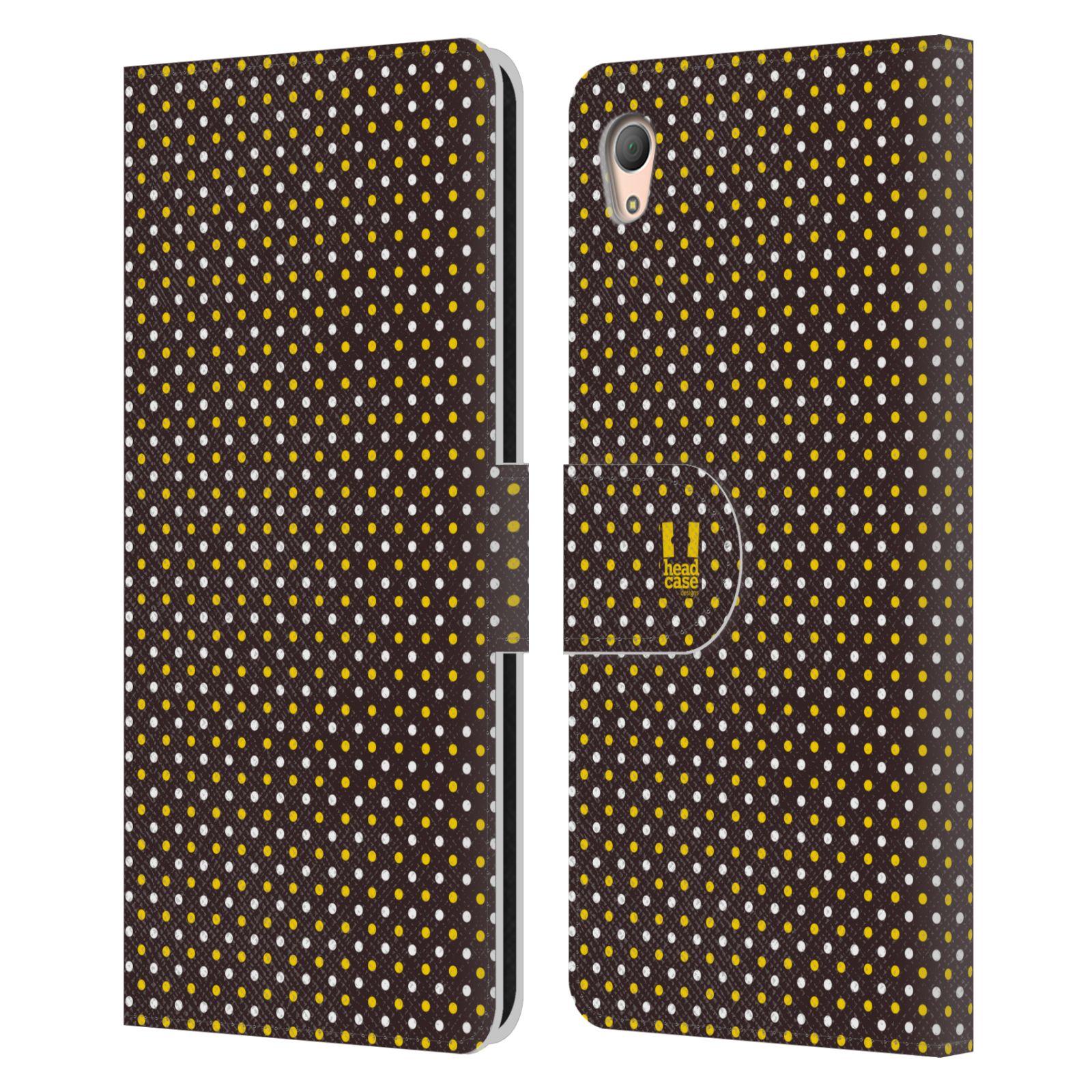HEAD CASE Flipové pouzdro pro mobil SONY XPERIA Z3+ (PLUS) VČELÍ VZOR puntíky hnědá a žlutá