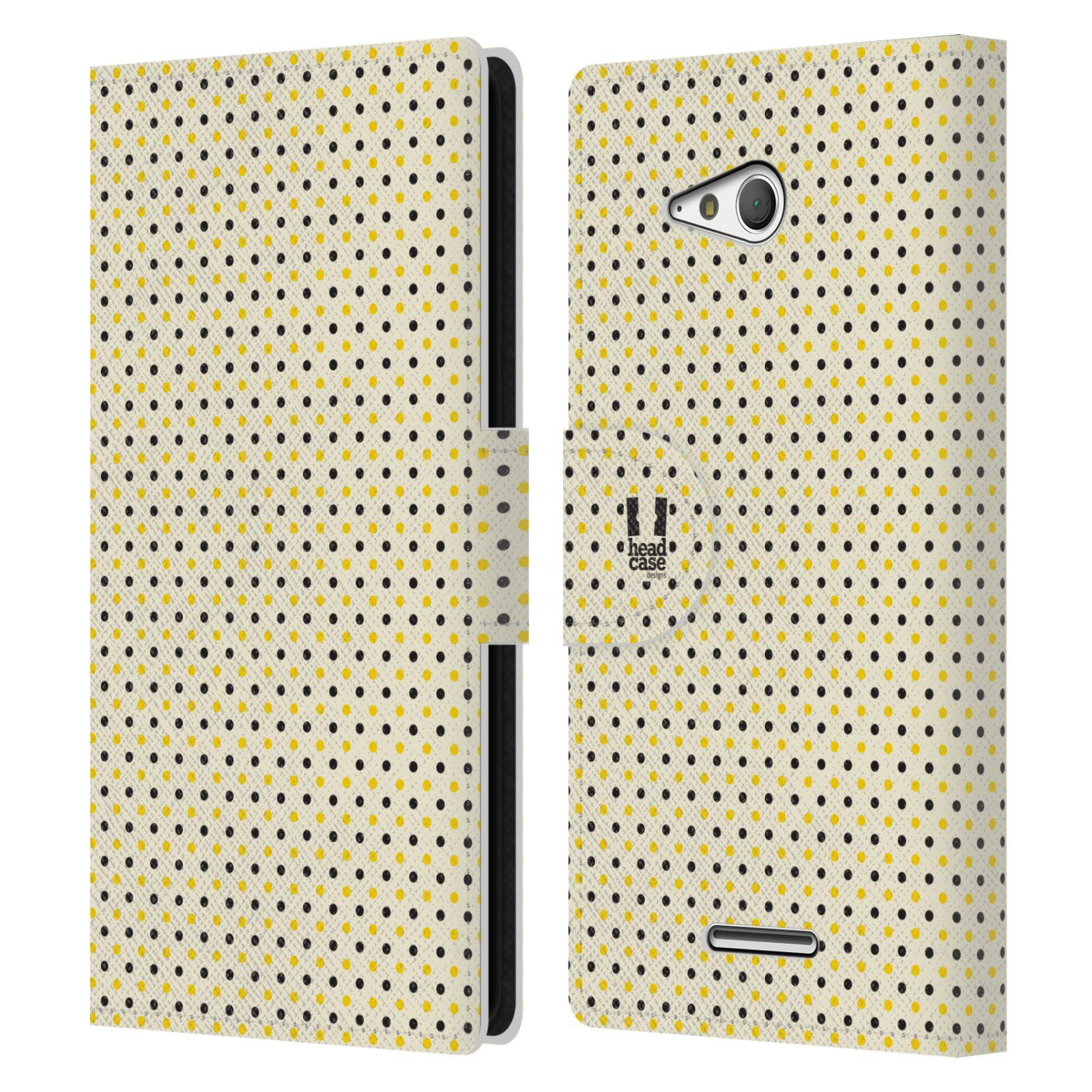 HEAD CASE Flipové pouzdro pro mobil SONY XPERIA E4g VČELÍ VZOR tečky a puntíky