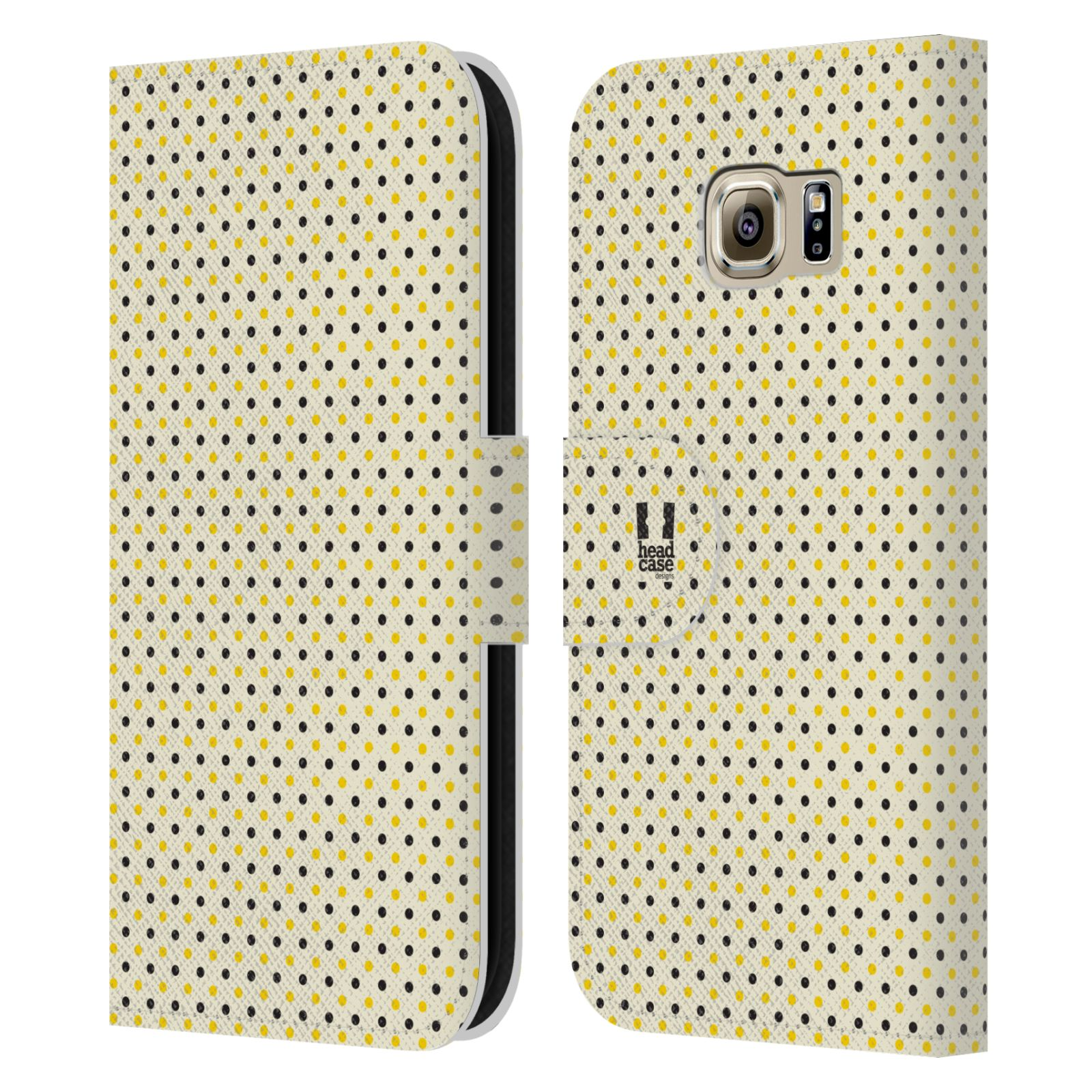 HEAD CASE Flipové pouzdro pro mobil Samsung Galaxy S6 (G9200) VČELÍ VZOR tečky a puntíky