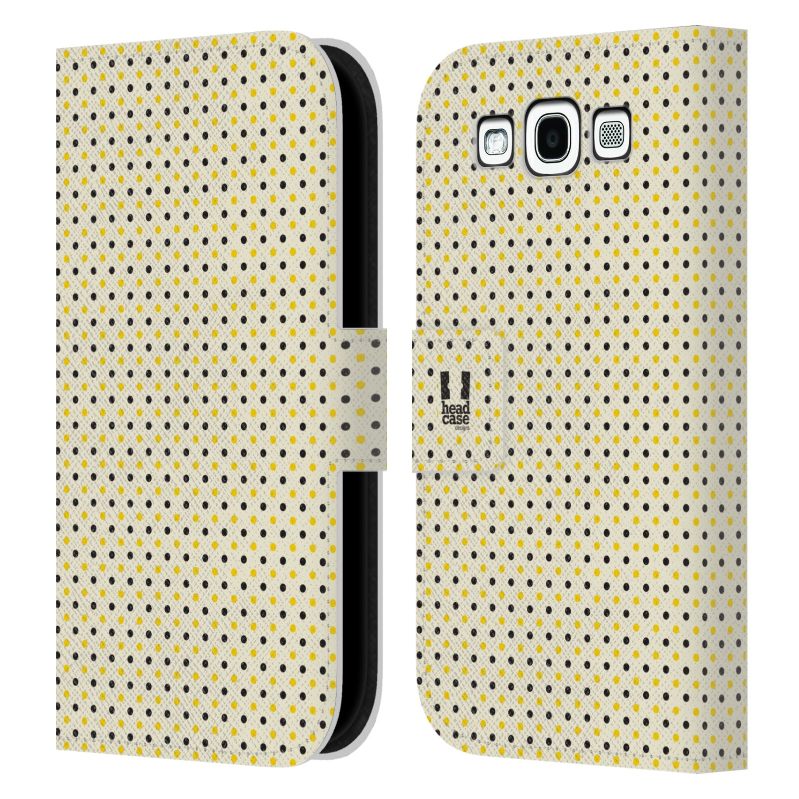 HEAD CASE Flipové pouzdro pro mobil Samsung Galaxy S3 VČELÍ VZOR tečky a puntíky
