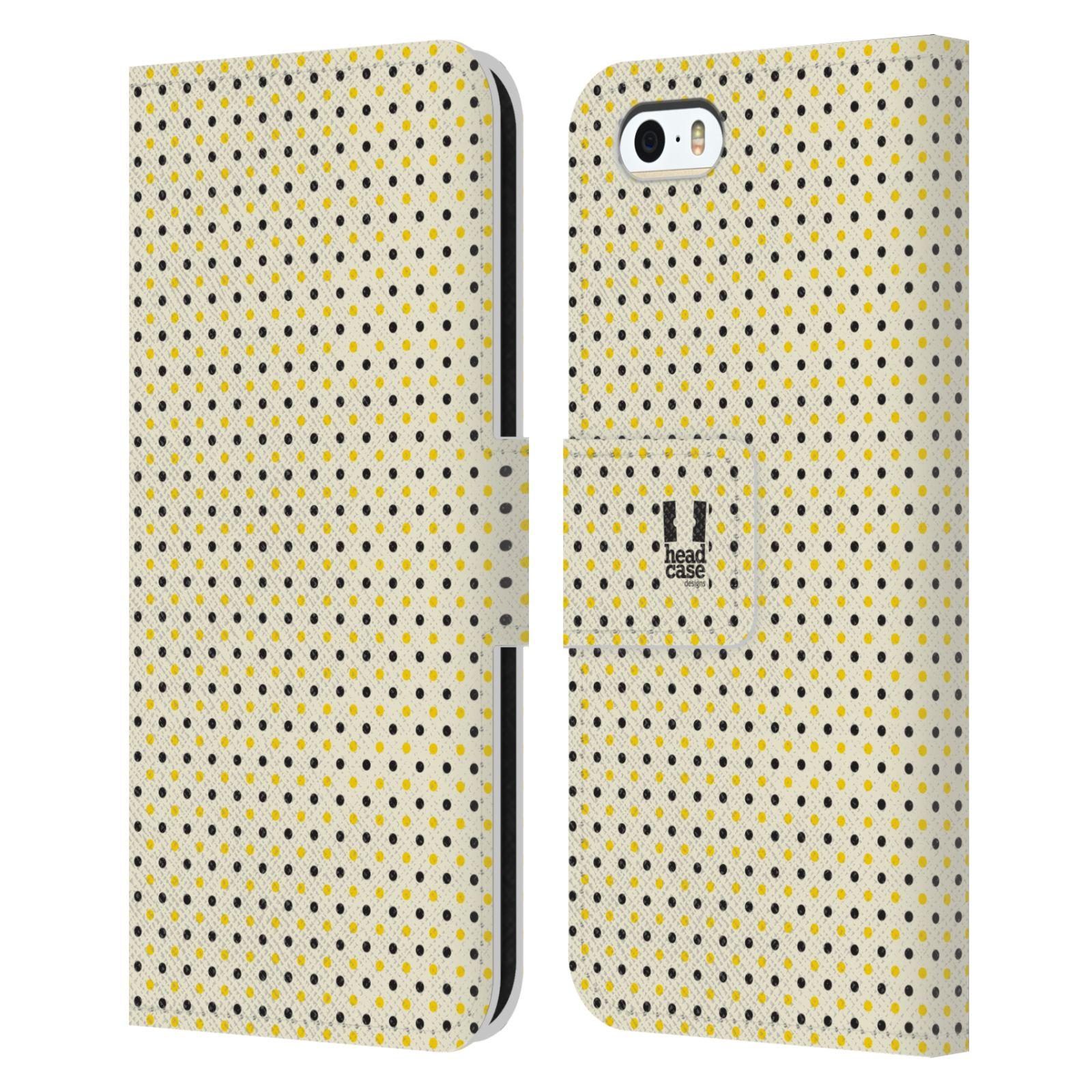 HEAD CASE Flipové pouzdro pro mobil Apple Iphone 5/5s VČELÍ VZOR tečky a puntíky
