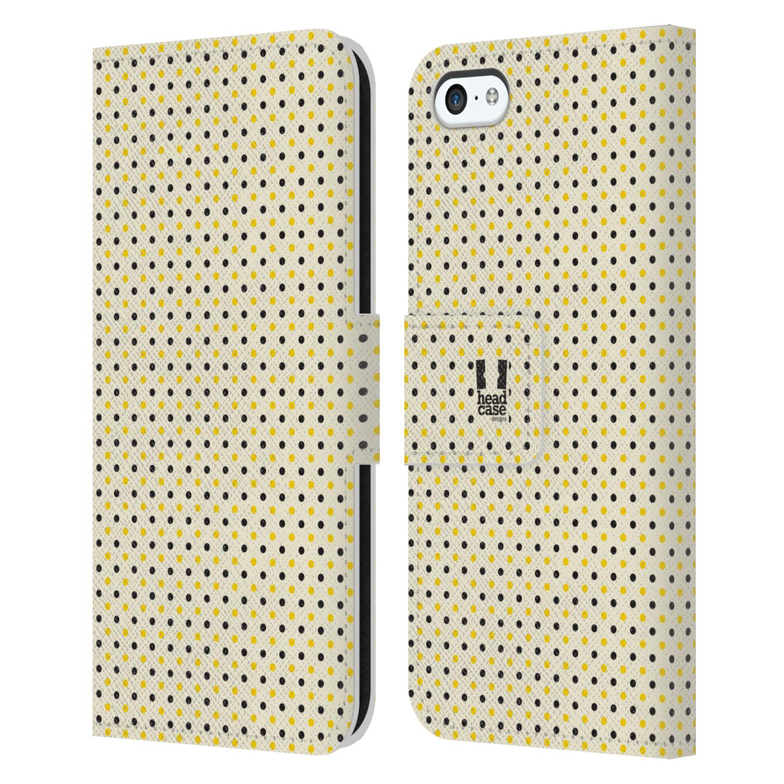 HEAD CASE Flipové pouzdro pro mobil Apple Iphone 5C VČELÍ VZOR tečky a puntíky