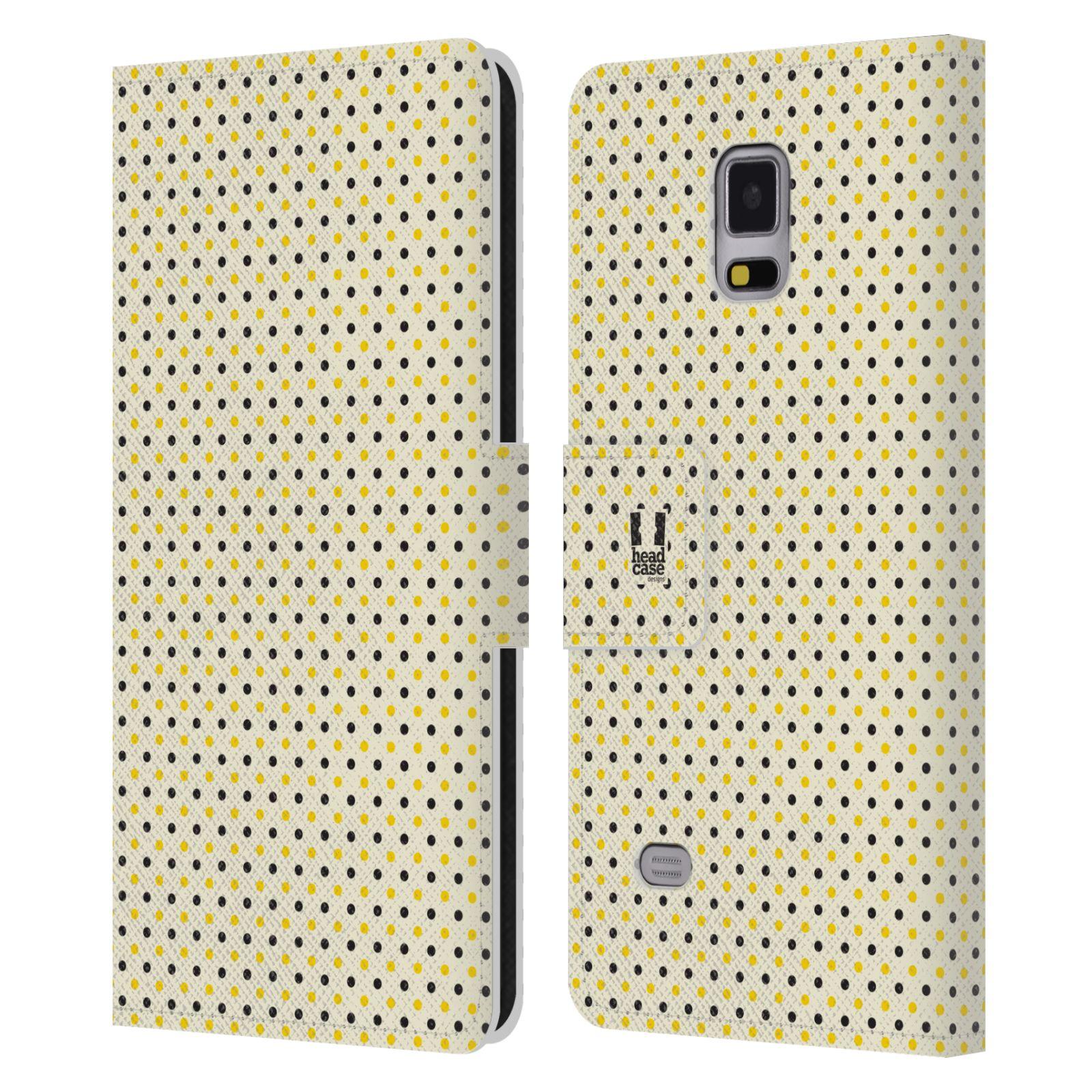 HEAD CASE Flipové pouzdro pro mobil Samsung Galaxy Note 4 VČELÍ VZOR tečky a puntíky