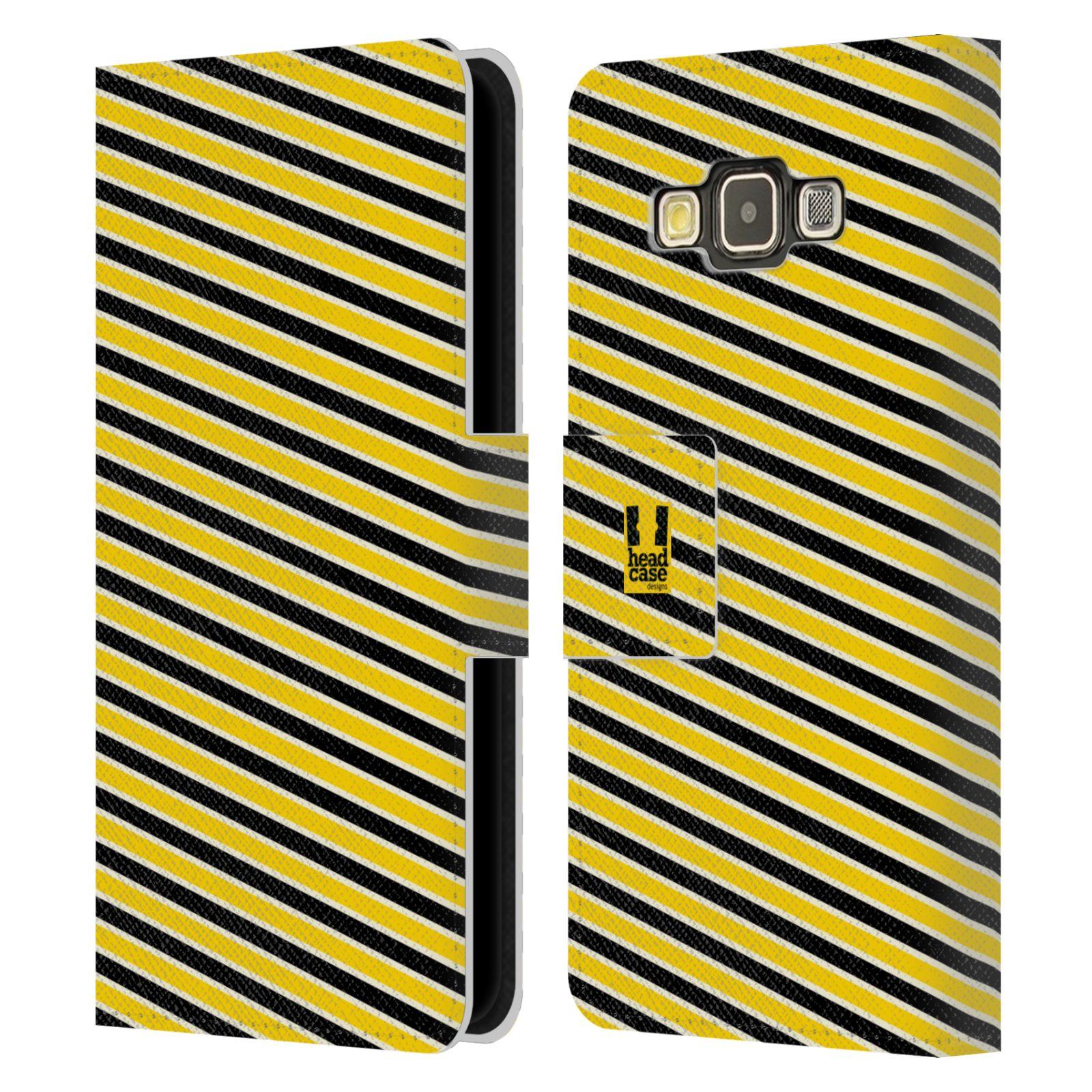 HEAD CASE Flipové pouzdro pro mobil Samsung Galaxy A3 VČELÍ VZOR pruhy žlutá a černá