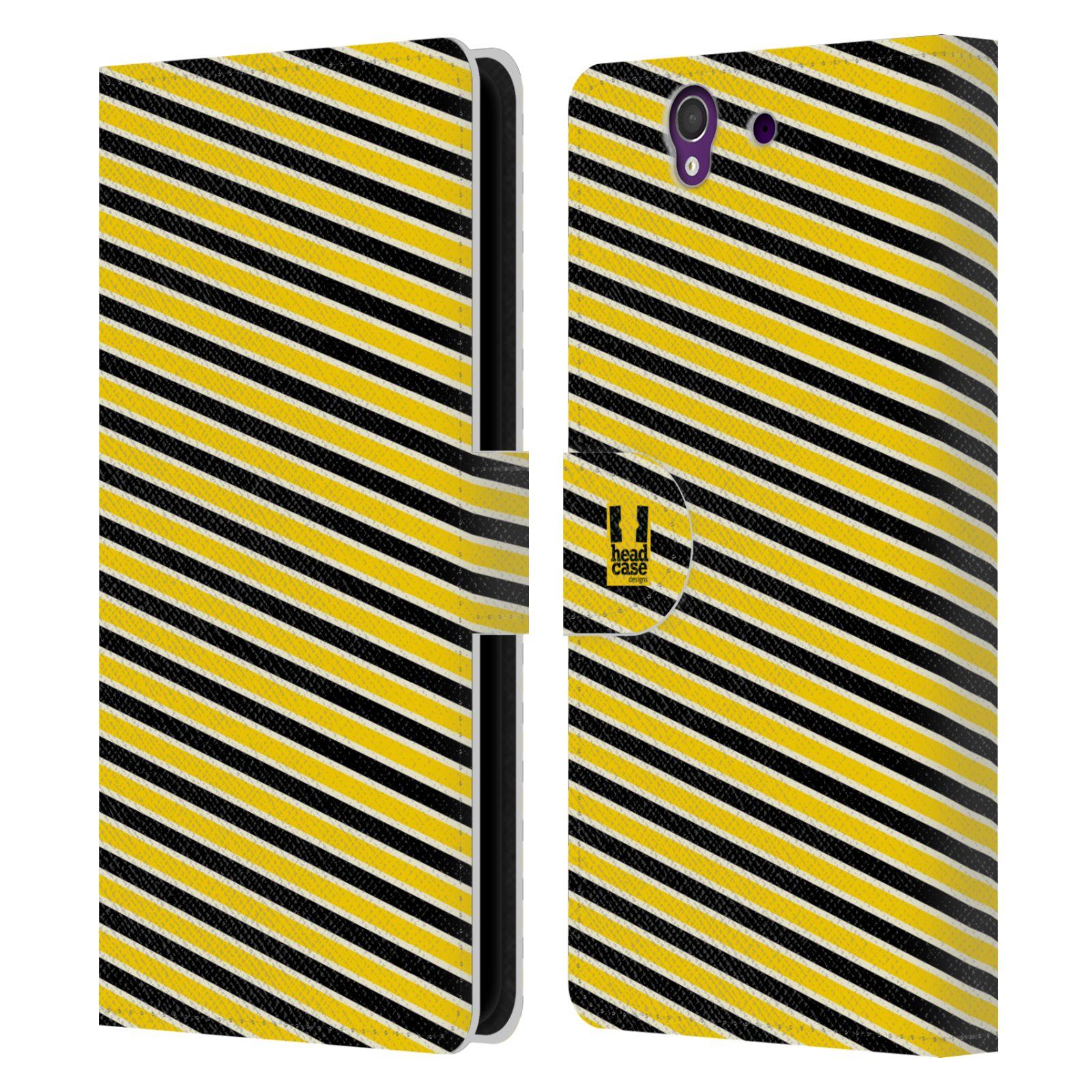 HEAD CASE Flipové pouzdro pro mobil SONY XPERIA Z (C6603) VČELÍ VZOR pruhy žlutá a černá