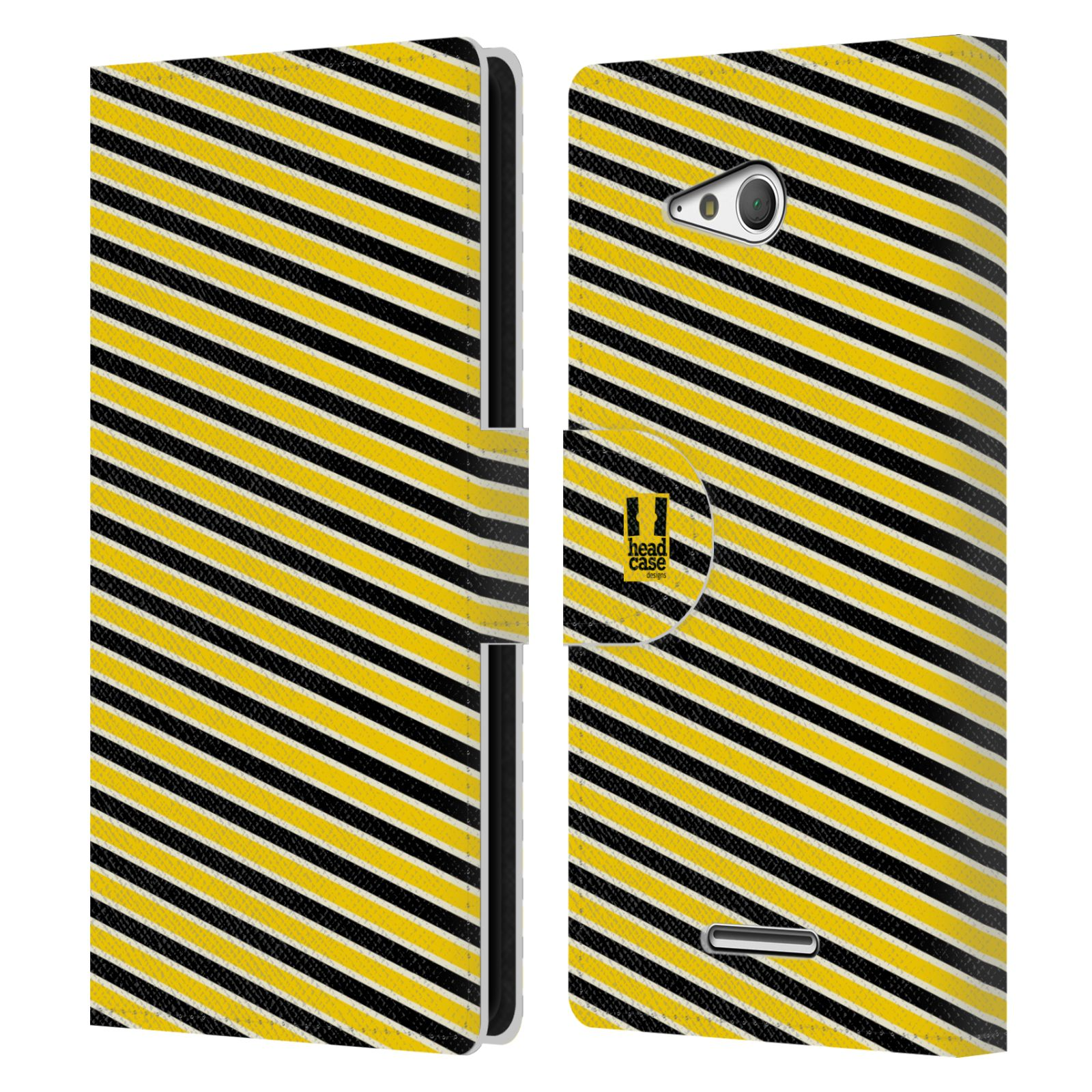 HEAD CASE Flipové pouzdro pro mobil SONY XPERIA E4g VČELÍ VZOR pruhy žlutá a černá
