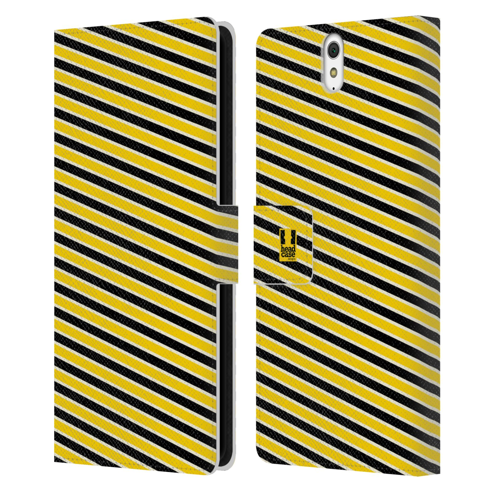 HEAD CASE Flipové pouzdro pro mobil SONY XPERIA C5 Ultra VČELÍ VZOR pruhy žlutá a černá
