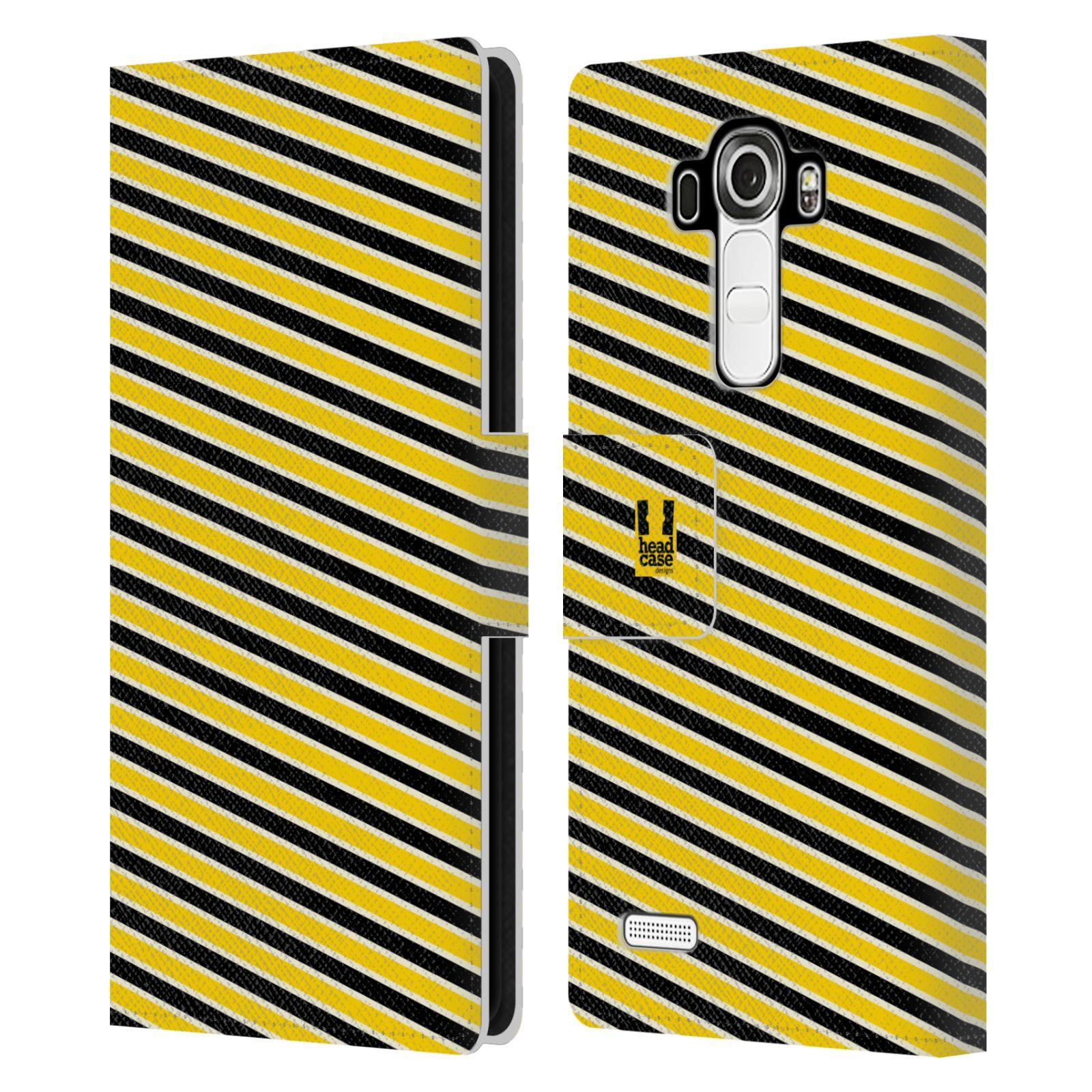 HEAD CASE Flipové pouzdro pro mobil LG G4 (H815) VČELÍ VZOR pruhy žlutá a černá