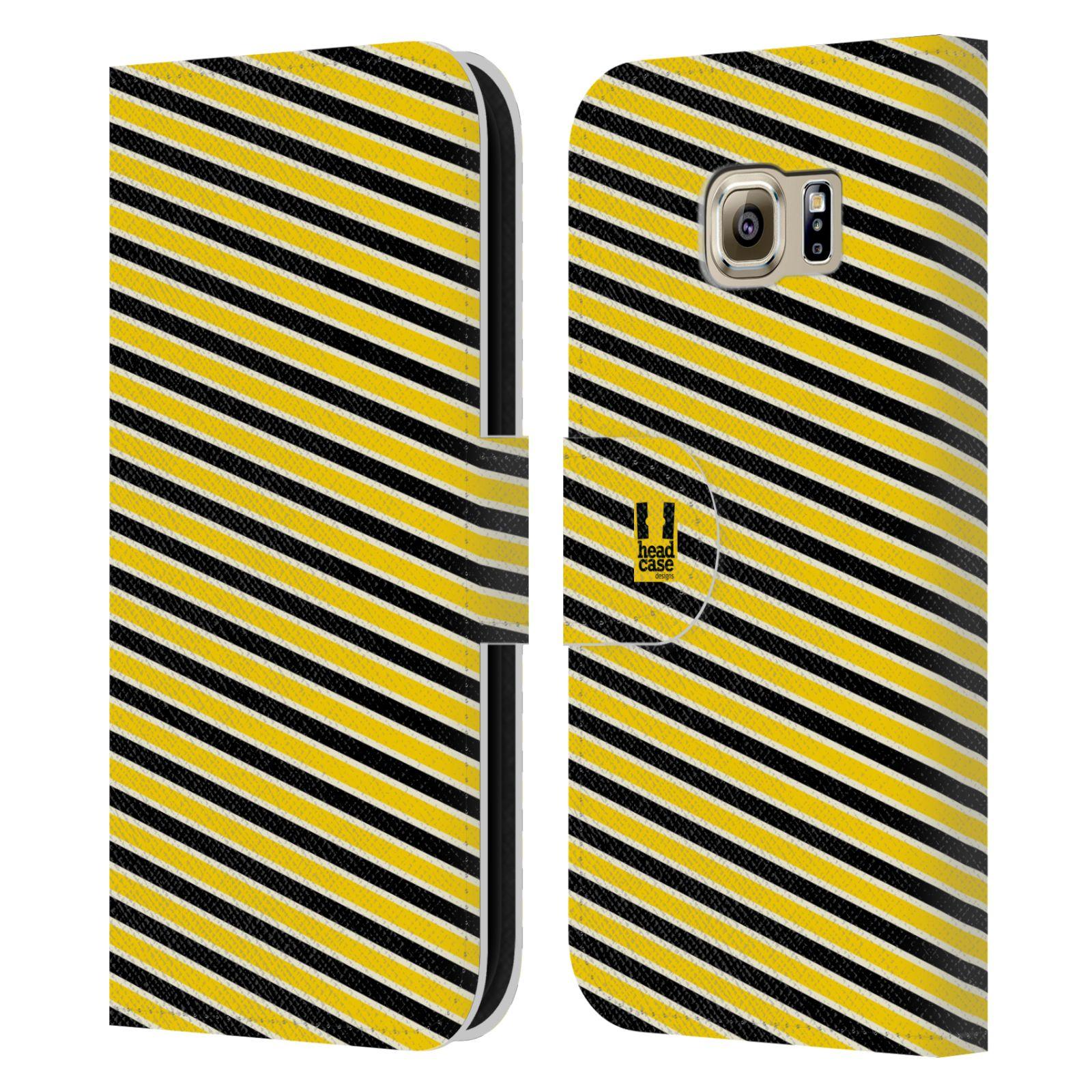 HEAD CASE Flipové pouzdro pro mobil Samsung Galaxy S6 (G9200) VČELÍ VZOR pruhy žlutá a černá