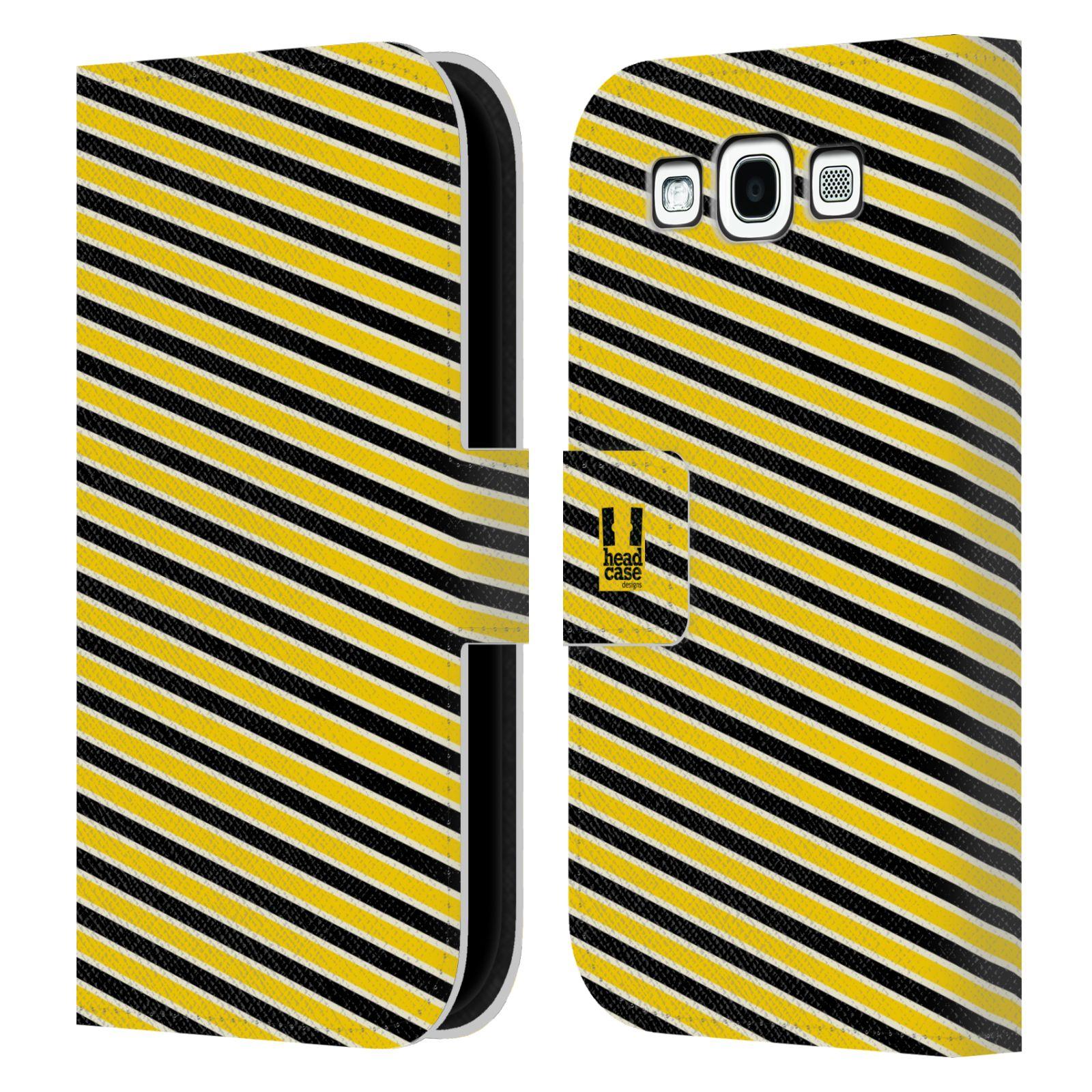 HEAD CASE Flipové pouzdro pro mobil Samsung Galaxy S3 VČELÍ VZOR pruhy žlutá a černá