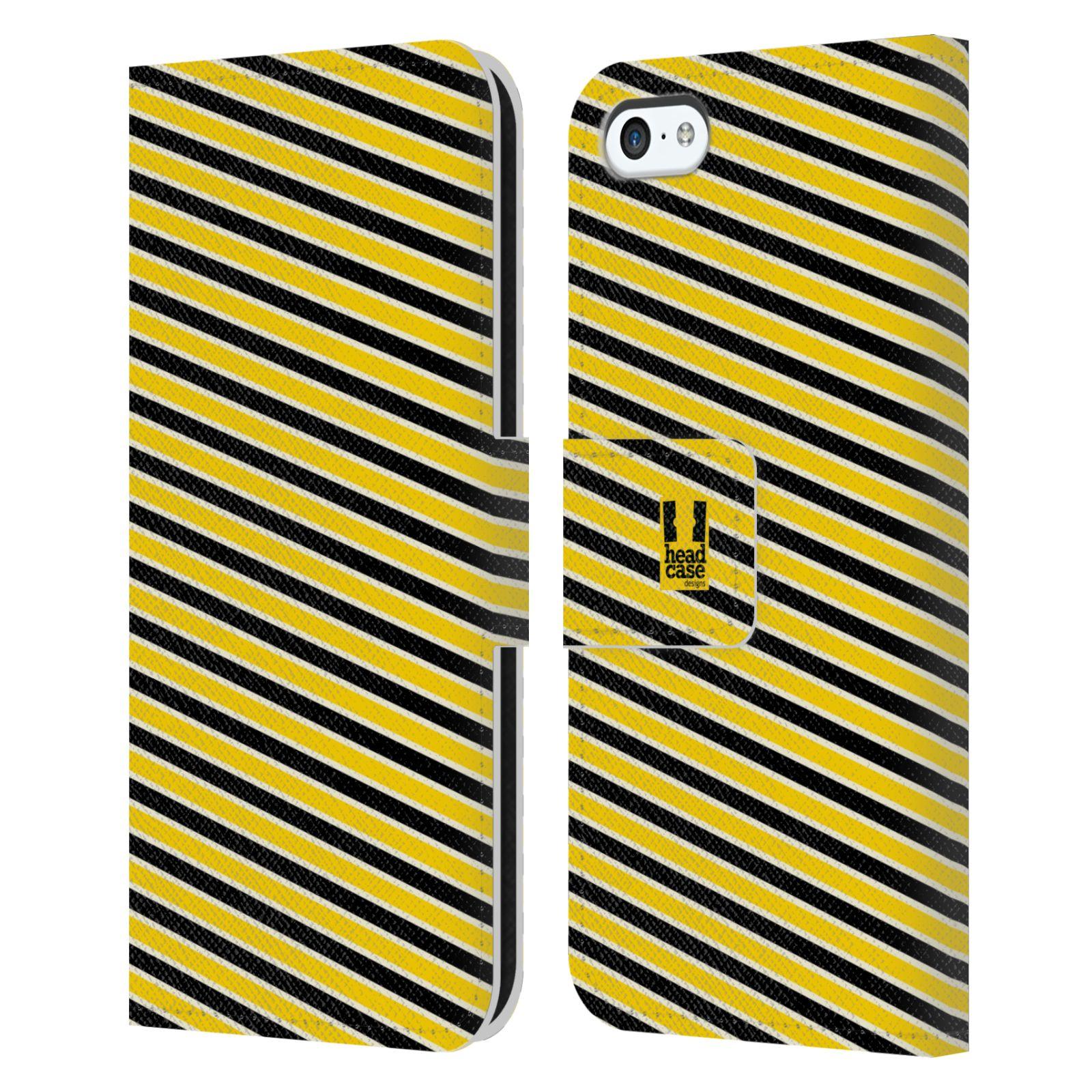 HEAD CASE Flipové pouzdro pro mobil Apple Iphone 5C VČELÍ VZOR pruhy žlutá a černá
