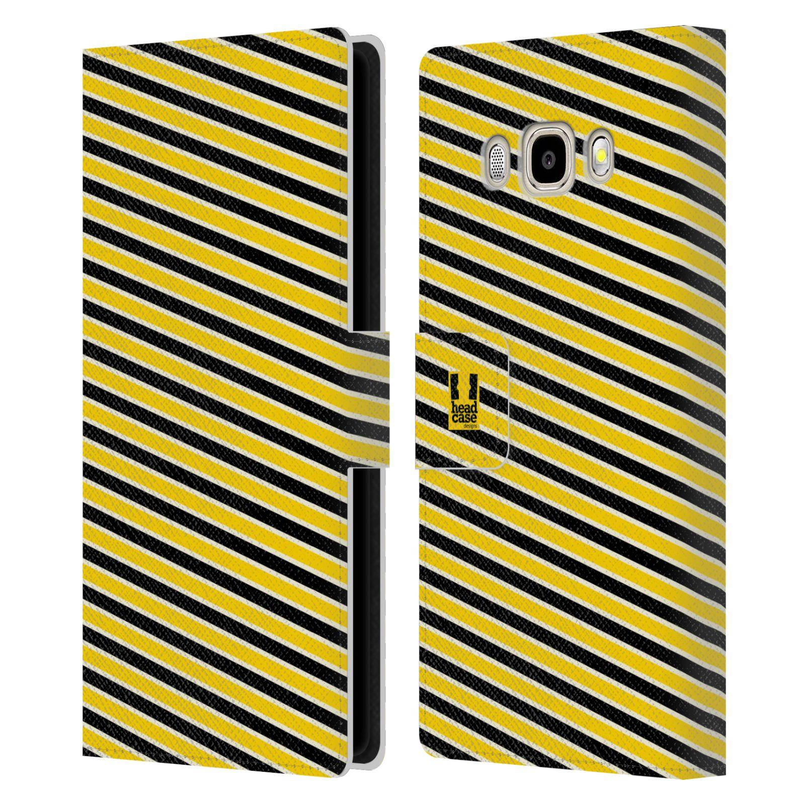 HEAD CASE Flipové pouzdro pro mobil Samsung Galaxy J5 2016 VČELÍ VZOR pruhy žlutá a černá