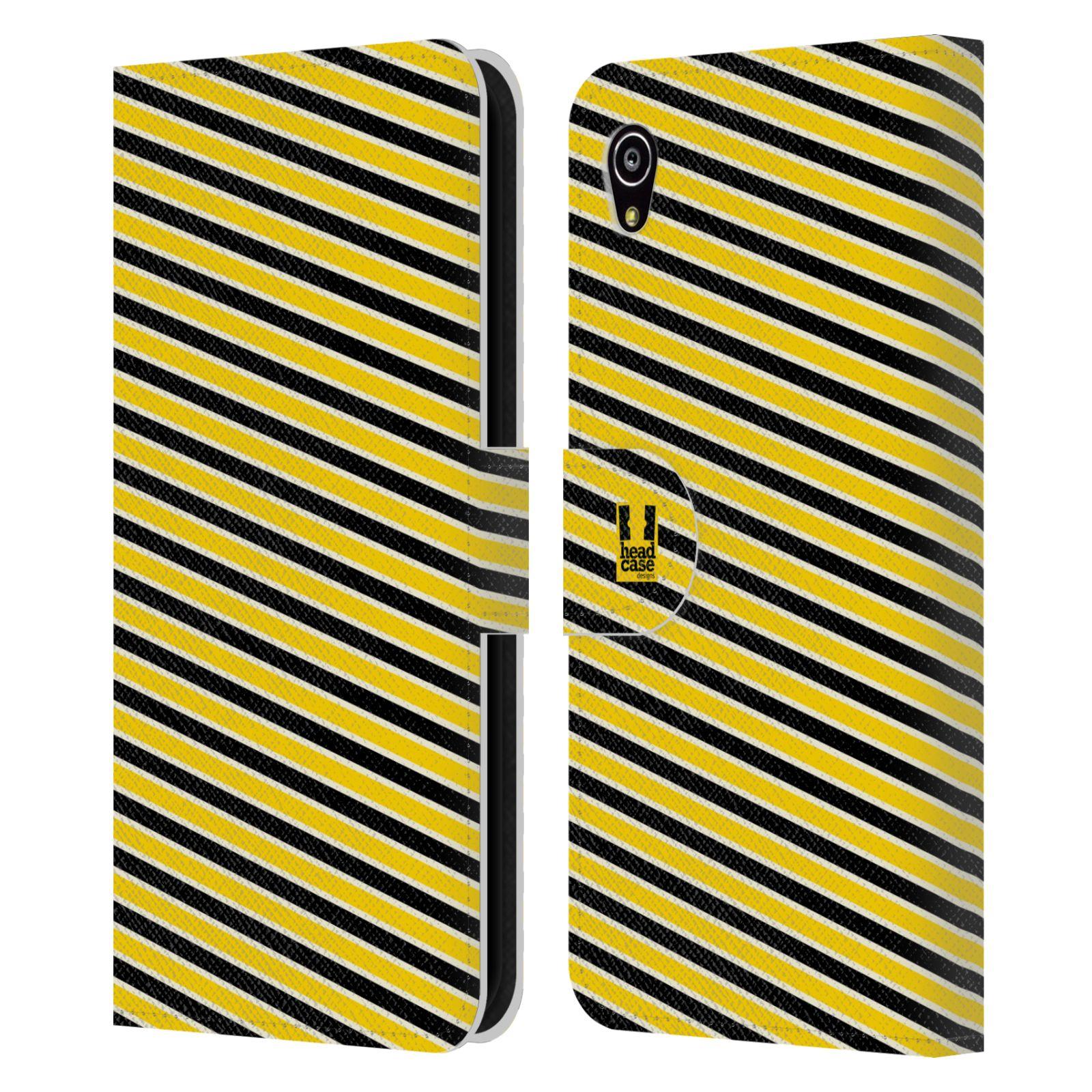 HEAD CASE Flipové pouzdro pro mobil SONY XPERIA M4 AQUA VČELÍ VZOR pruhy žlutá a černá
