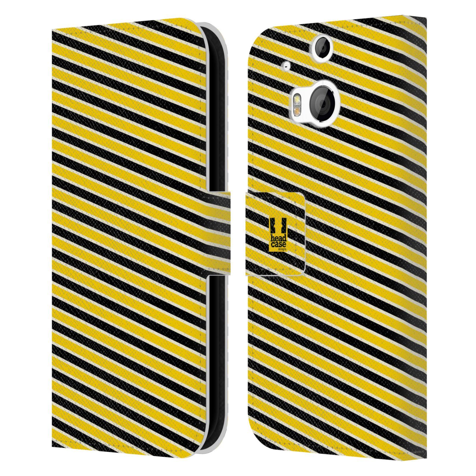 HEAD CASE Flipové pouzdro pro mobil HTC ONE (M8, M8s) VČELÍ VZOR pruhy žlutá a černá