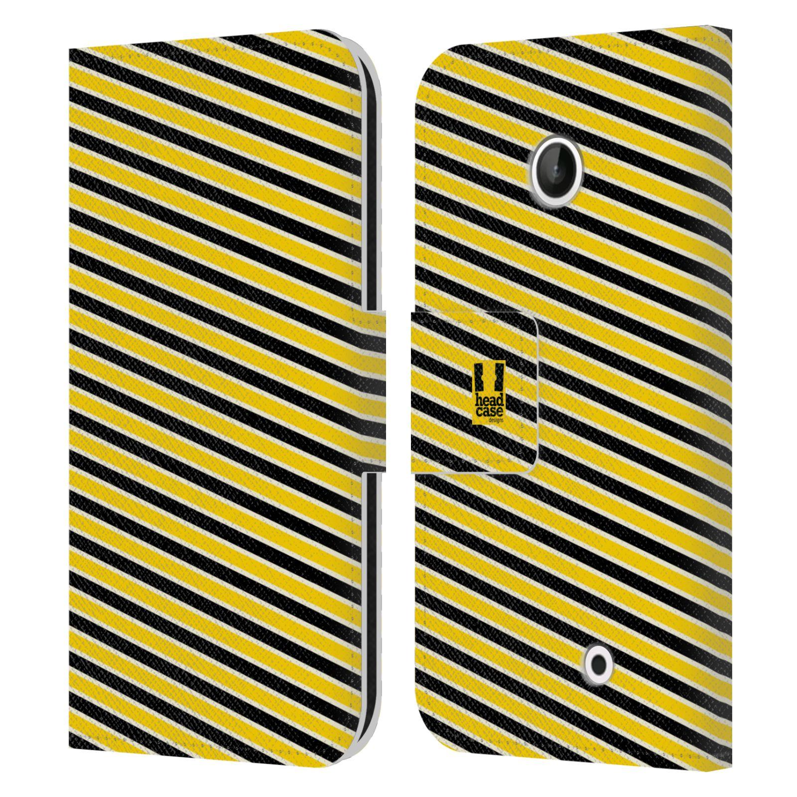 HEAD CASE Flipové pouzdro pro mobil NOKIA LUMIA 630 / LUMIA 630 DUAL VČELÍ VZOR pruhy žlutá a černá