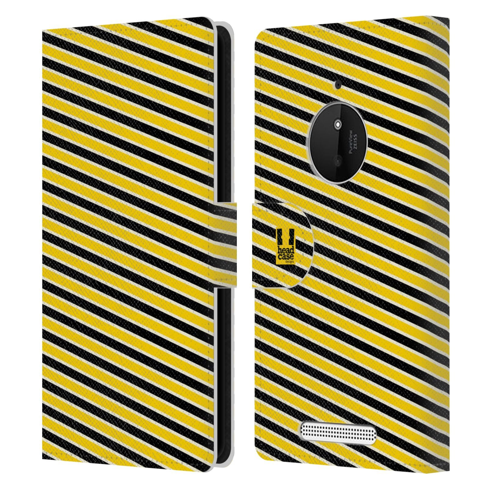 HEAD CASE Flipové pouzdro pro mobil NOKIA LUMIA 830 VČELÍ VZOR pruhy žlutá a černá