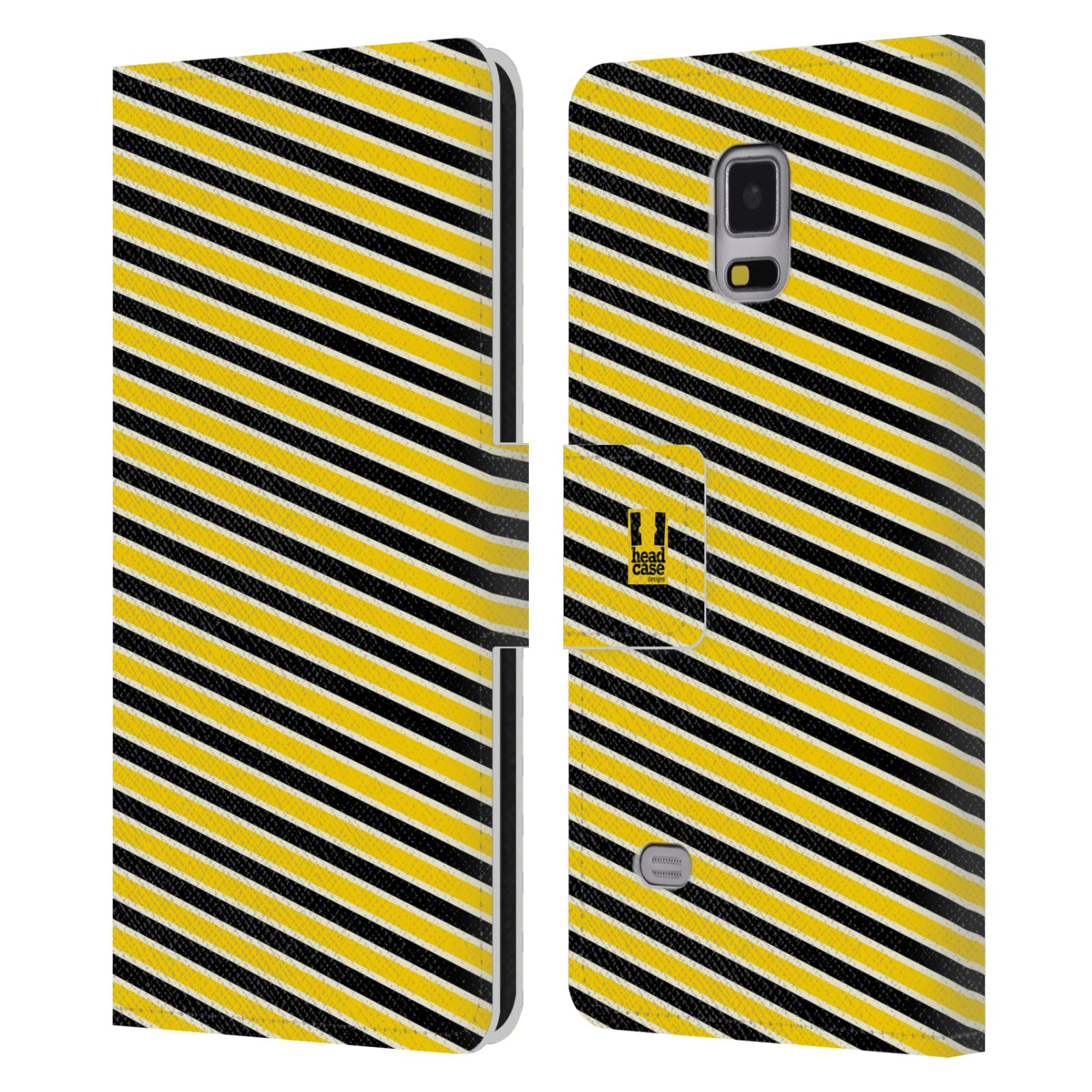 HEAD CASE Flipové pouzdro pro mobil Samsung Galaxy Note 4 VČELÍ VZOR pruhy žlutá a černá