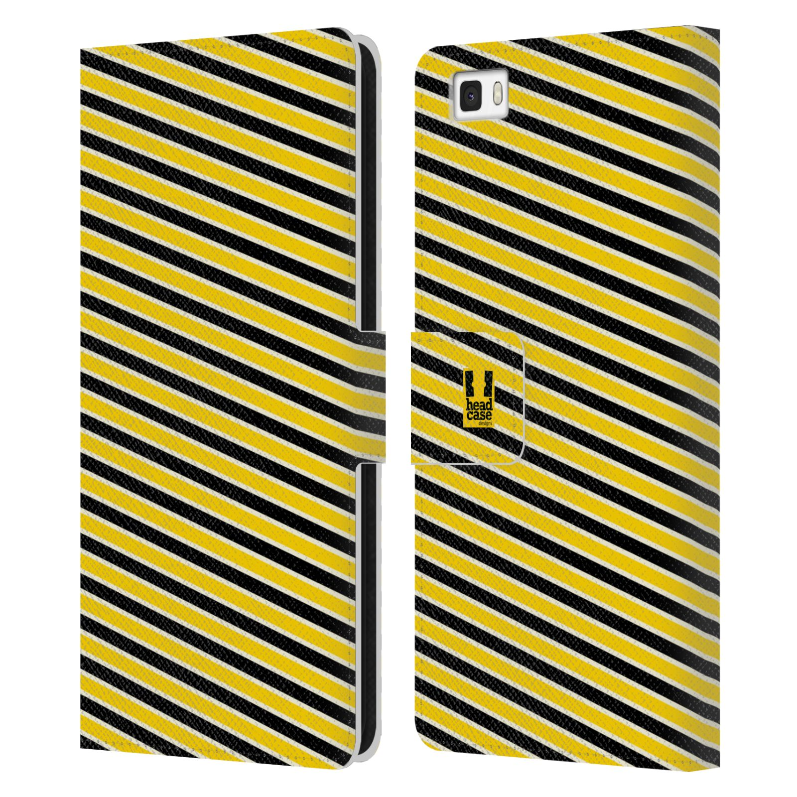 HEAD CASE Flipové pouzdro pro mobil Huawei P8 LITE VČELÍ VZOR pruhy žlutá a černá