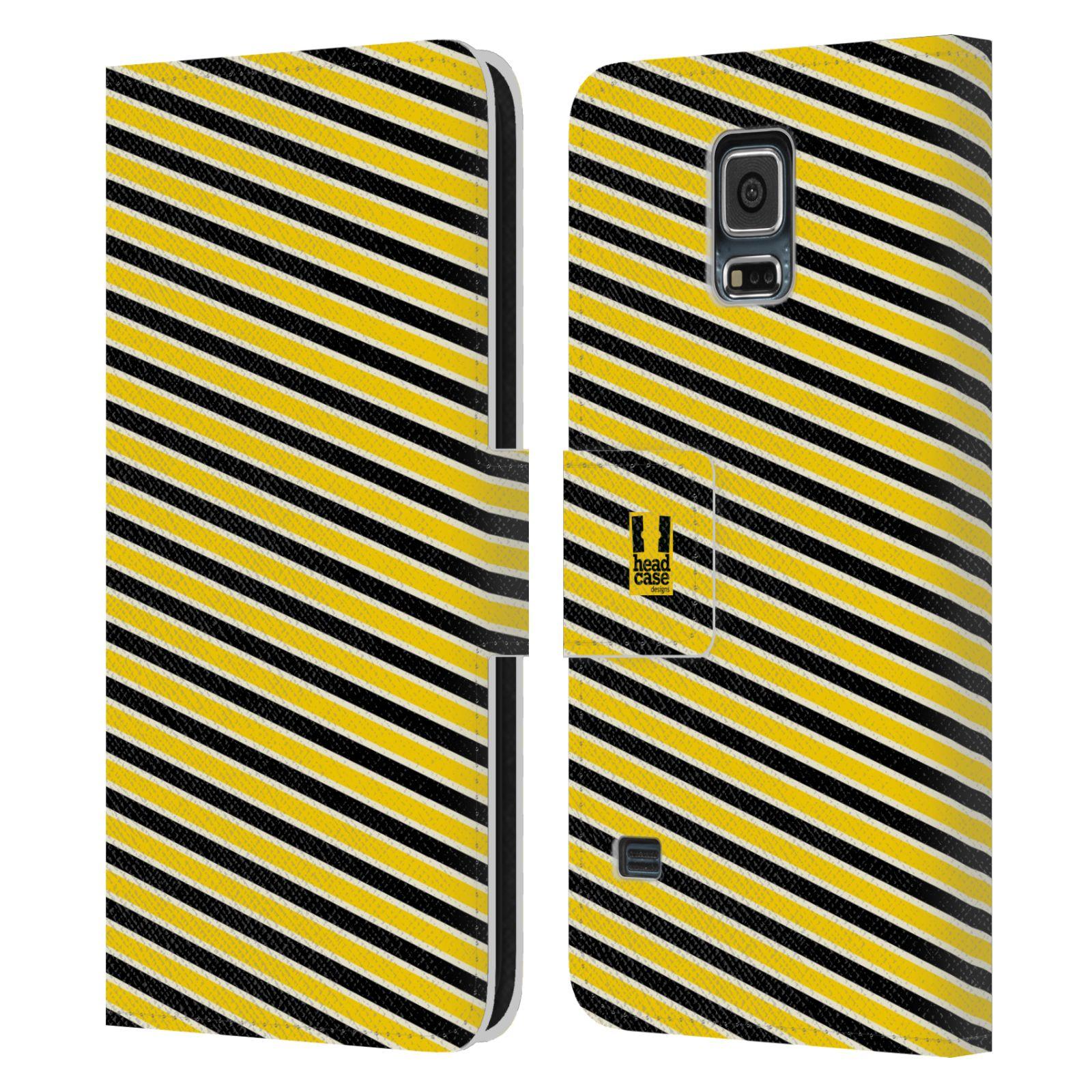HEAD CASE Flipové pouzdro pro mobil Samsung Galaxy S5 / S5 NEO VČELÍ VZOR pruhy žlutá a černá