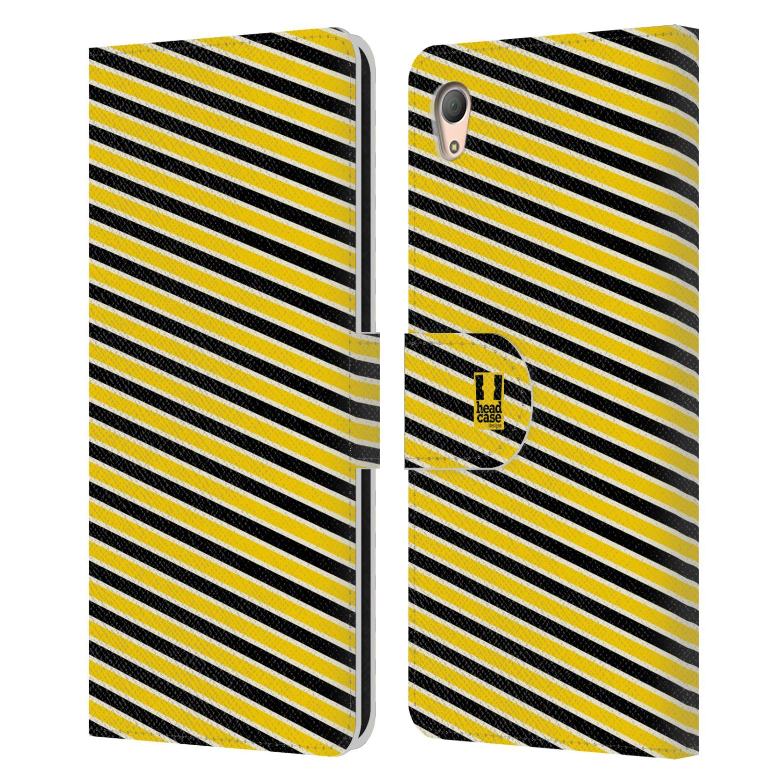 HEAD CASE Flipové pouzdro pro mobil SONY XPERIA Z3+ (PLUS) VČELÍ VZOR pruhy žlutá a černá
