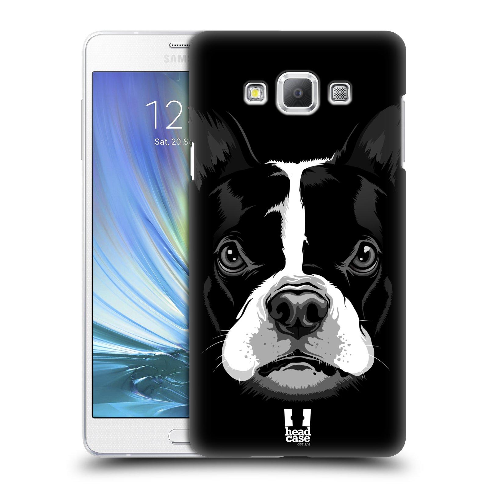 HEAD CASE plastový obal na mobil SAMSUNG GALAXY A7 vzor Zvíře kreslená tvář 2 buldok