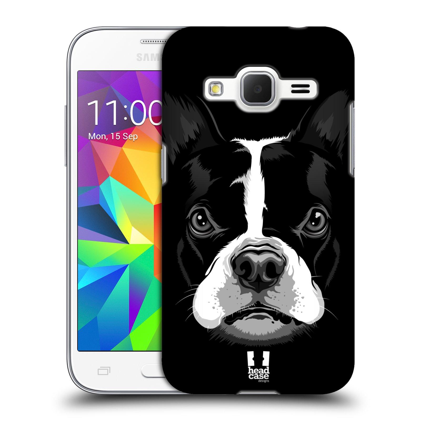 HEAD CASE plastový obal na mobil SAMSUNG GALAXY Core Prime (Core Prime VE) vzor Zvíře kreslená tvář 2 buldok