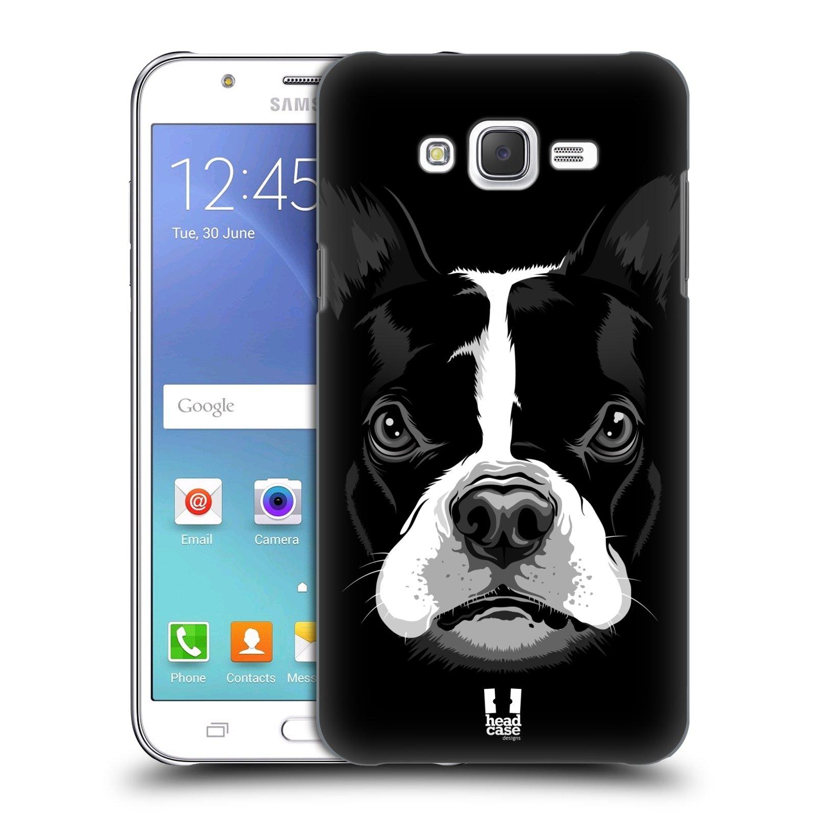 HEAD CASE plastový obal na mobil SAMSUNG Galaxy J7, J700 vzor Zvíře kreslená tvář 2 buldok