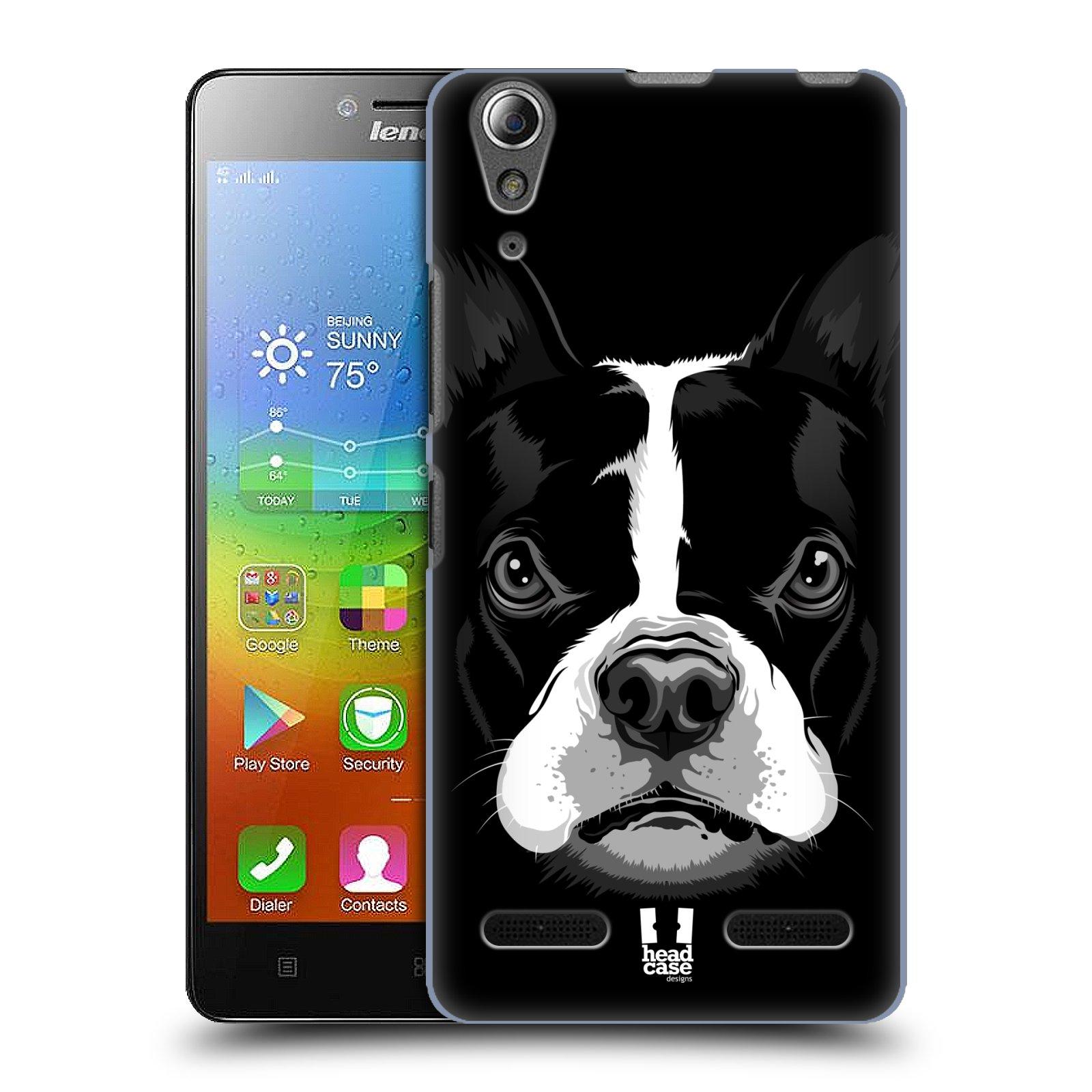 HEAD CASE pevný plastový obal na mobil LENOVO A6000 / A6000 PLUS vzor Zvíře kreslená tvář 2 buldok